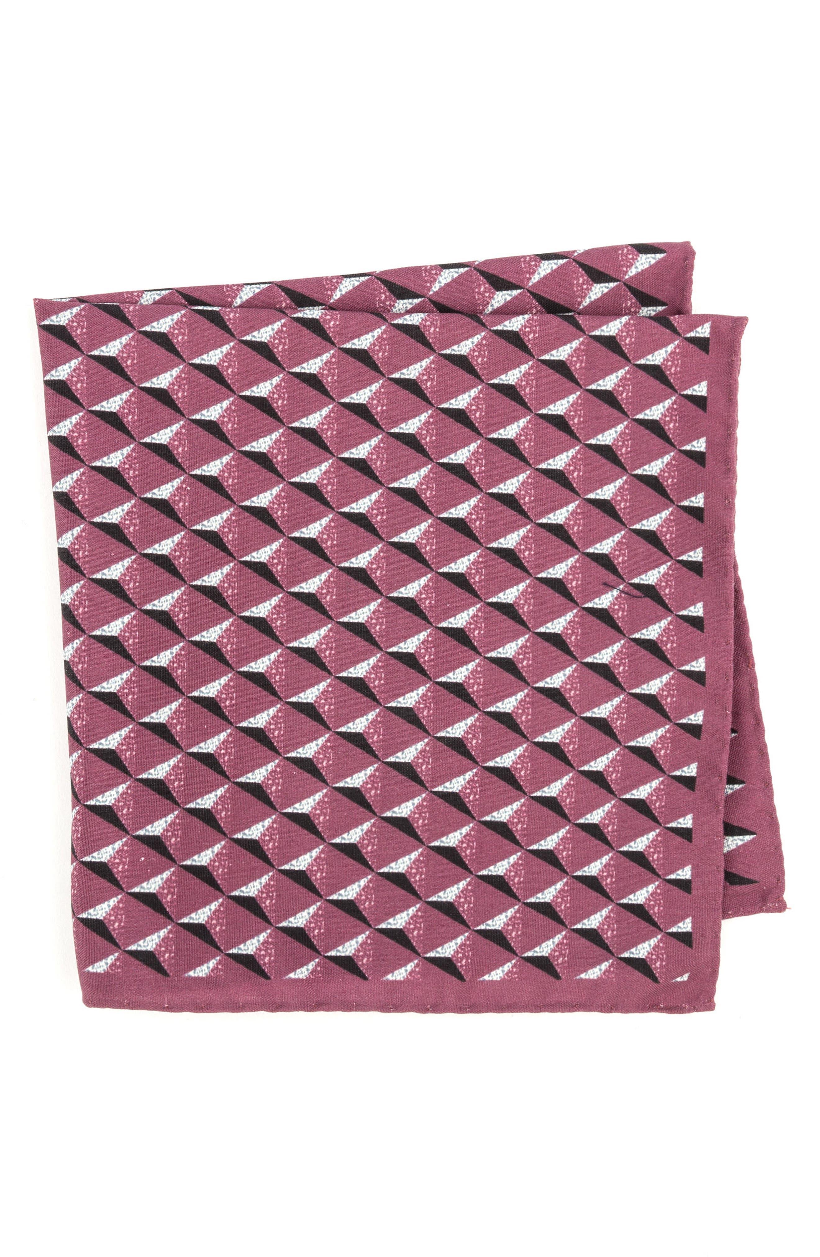 Geometric Silk Pocket Square,                             Main thumbnail 6, color,