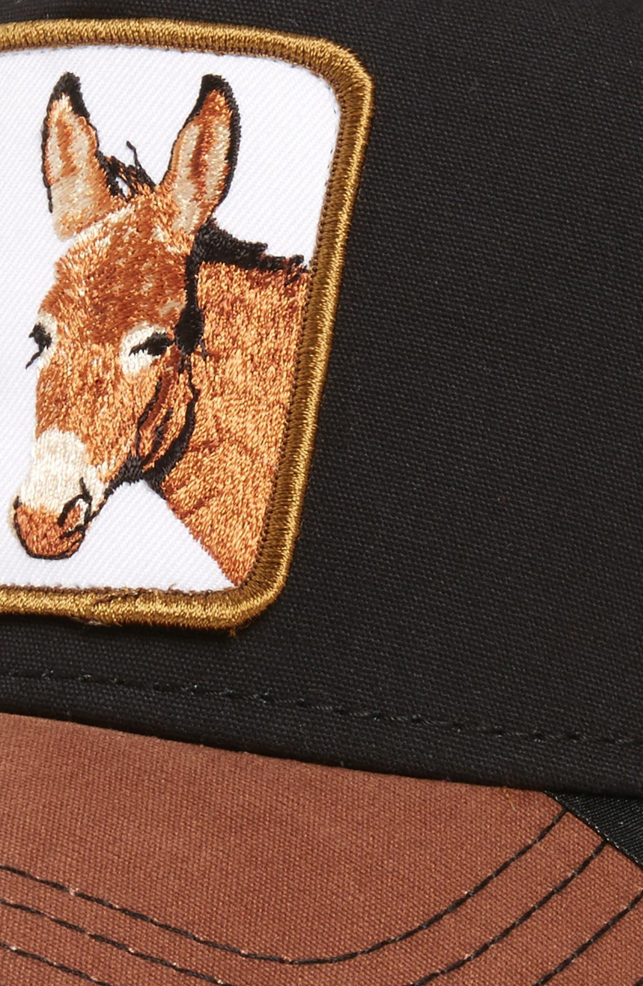 Barnyard Donkey Trucker Hat,                             Alternate thumbnail 3, color,                             BLACK