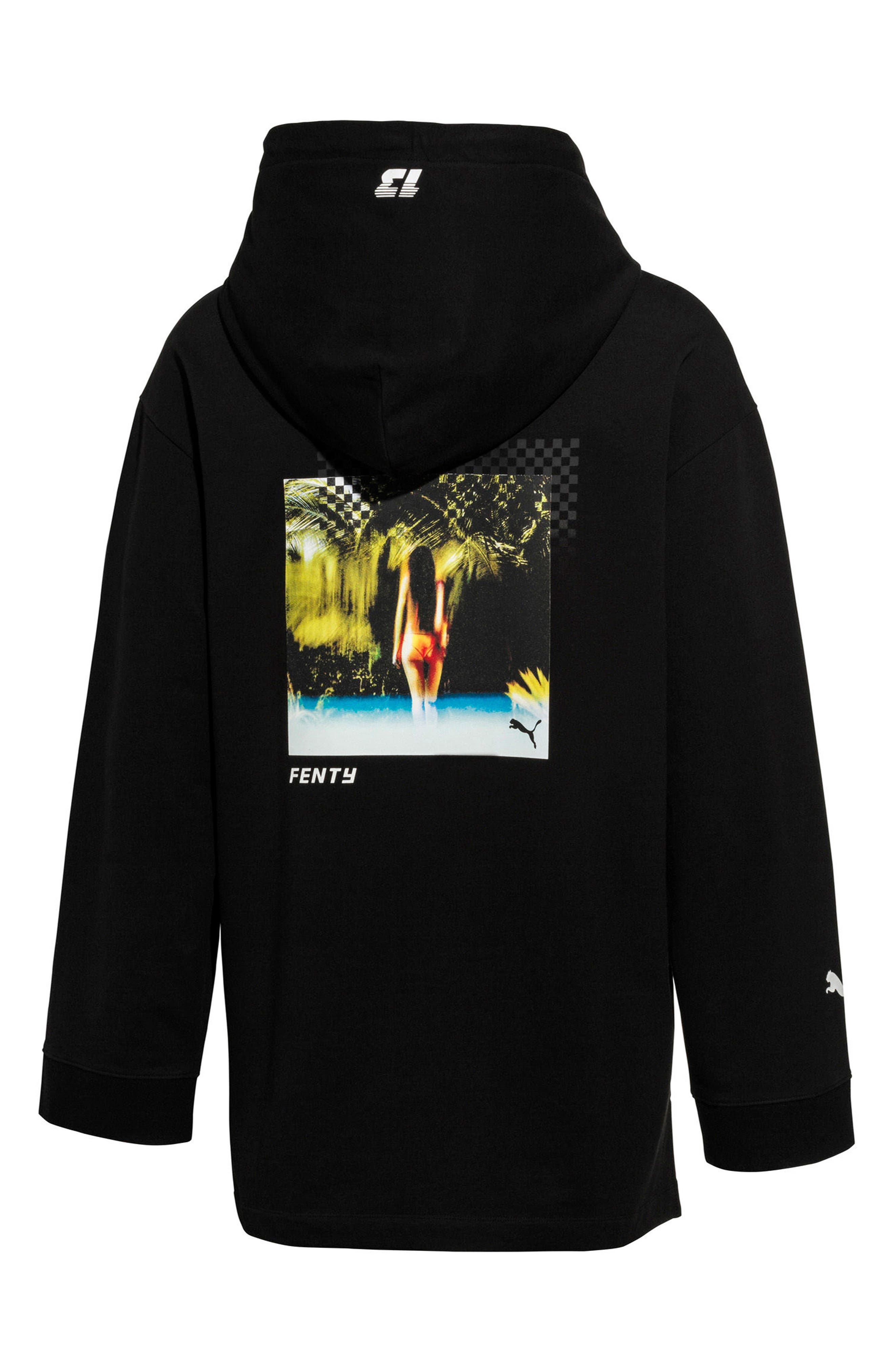 PUMA by Rihanna Graphic Hoodie,                             Alternate thumbnail 2, color,                             001
