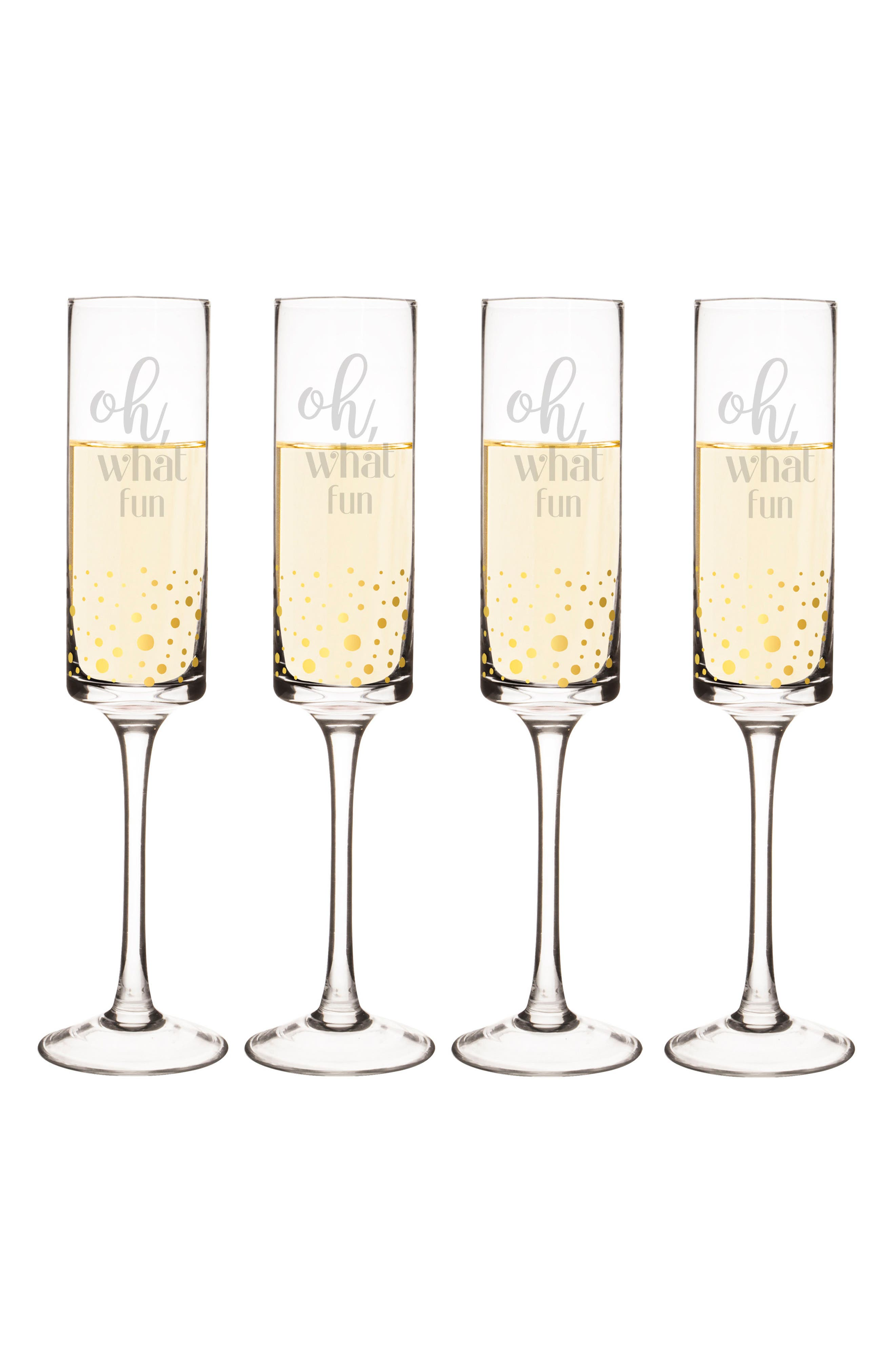 Oh What Fun Set of 4 Champagne Flutes,                             Main thumbnail 1, color,                             710