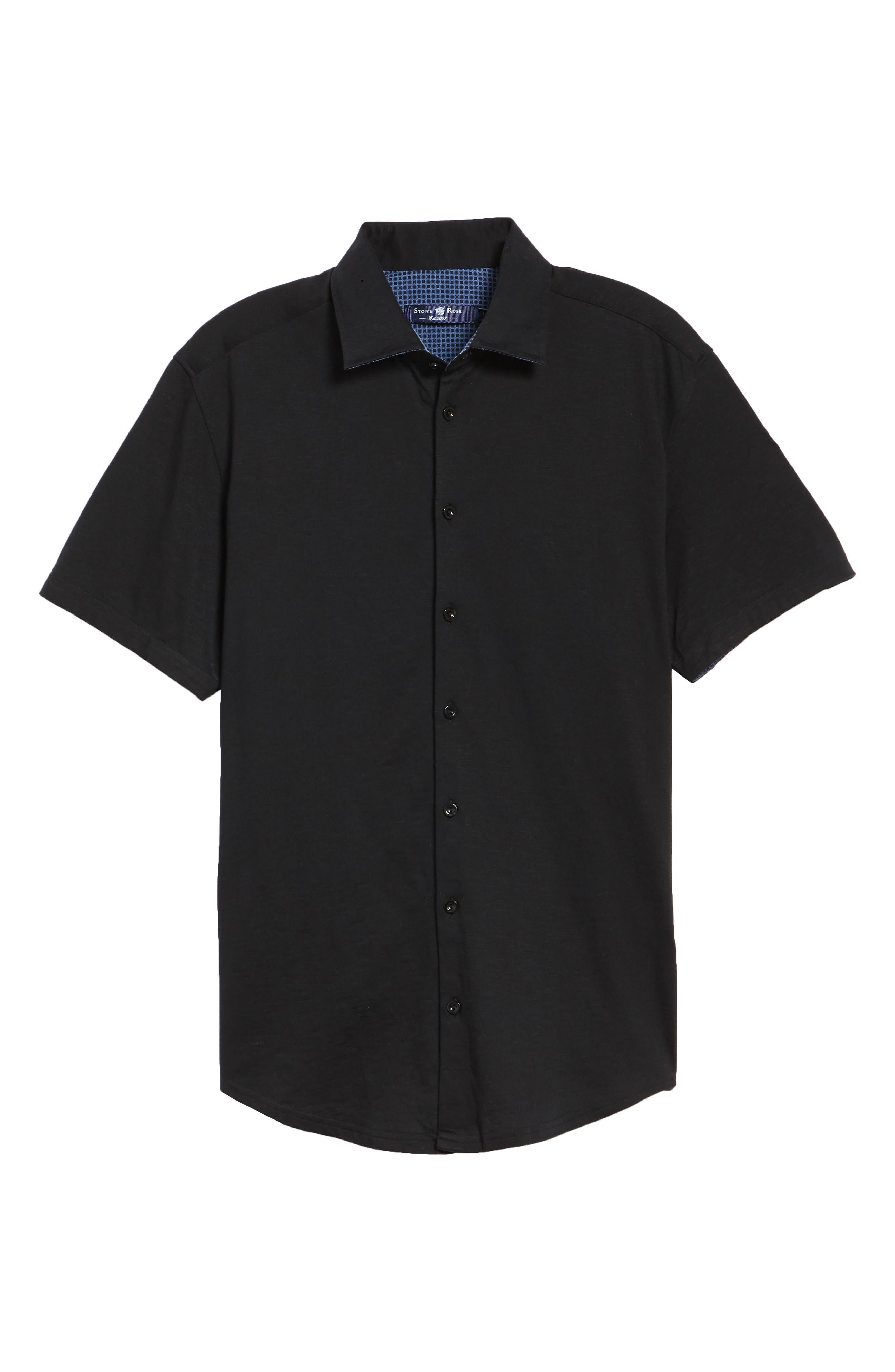 Slim Fit Flame Knit Sport Shirt,                             Alternate thumbnail 6, color,                             BLACK