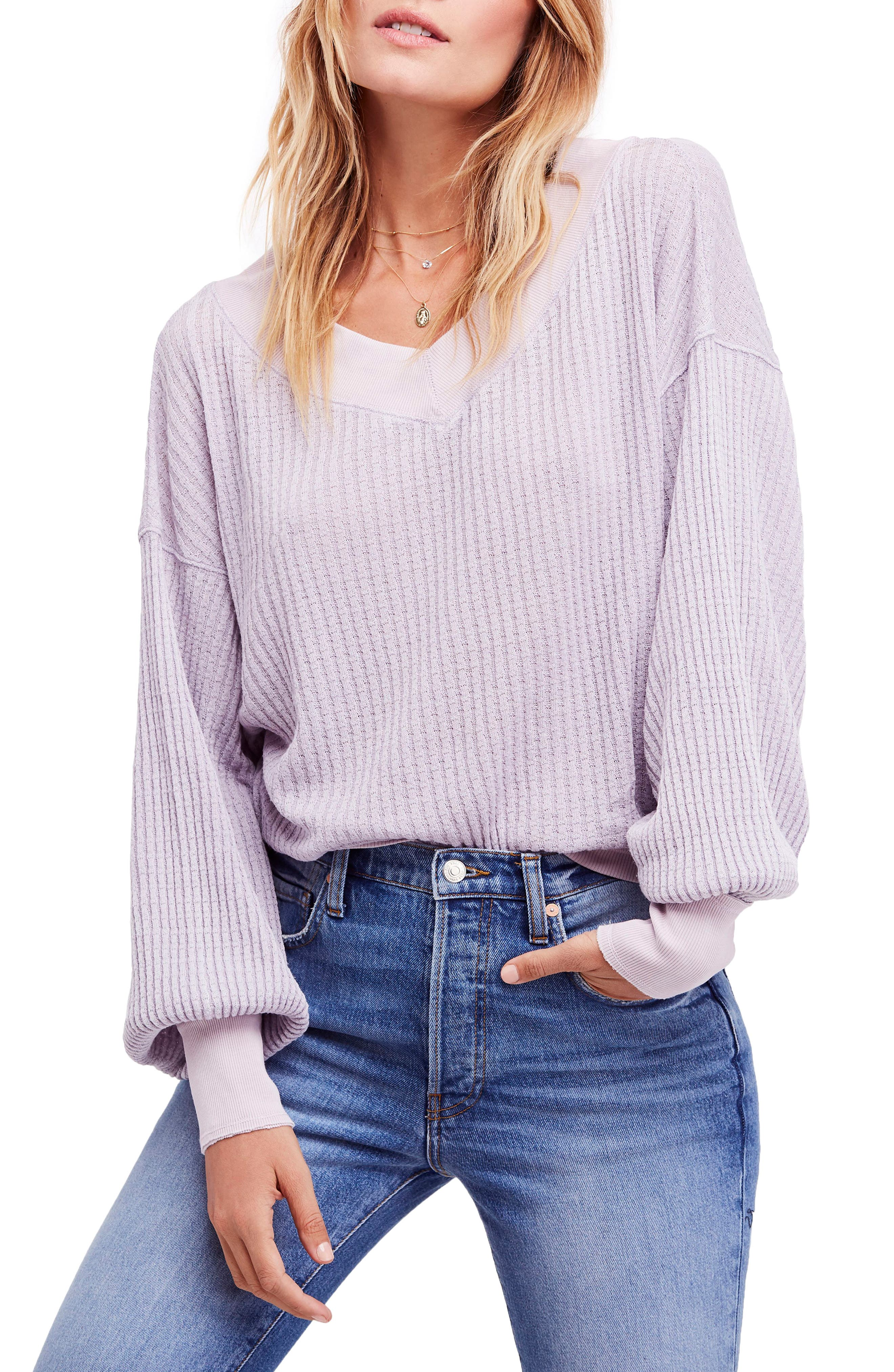 We the Free by Free People South Side Thermal Top, Main, color, LILAC