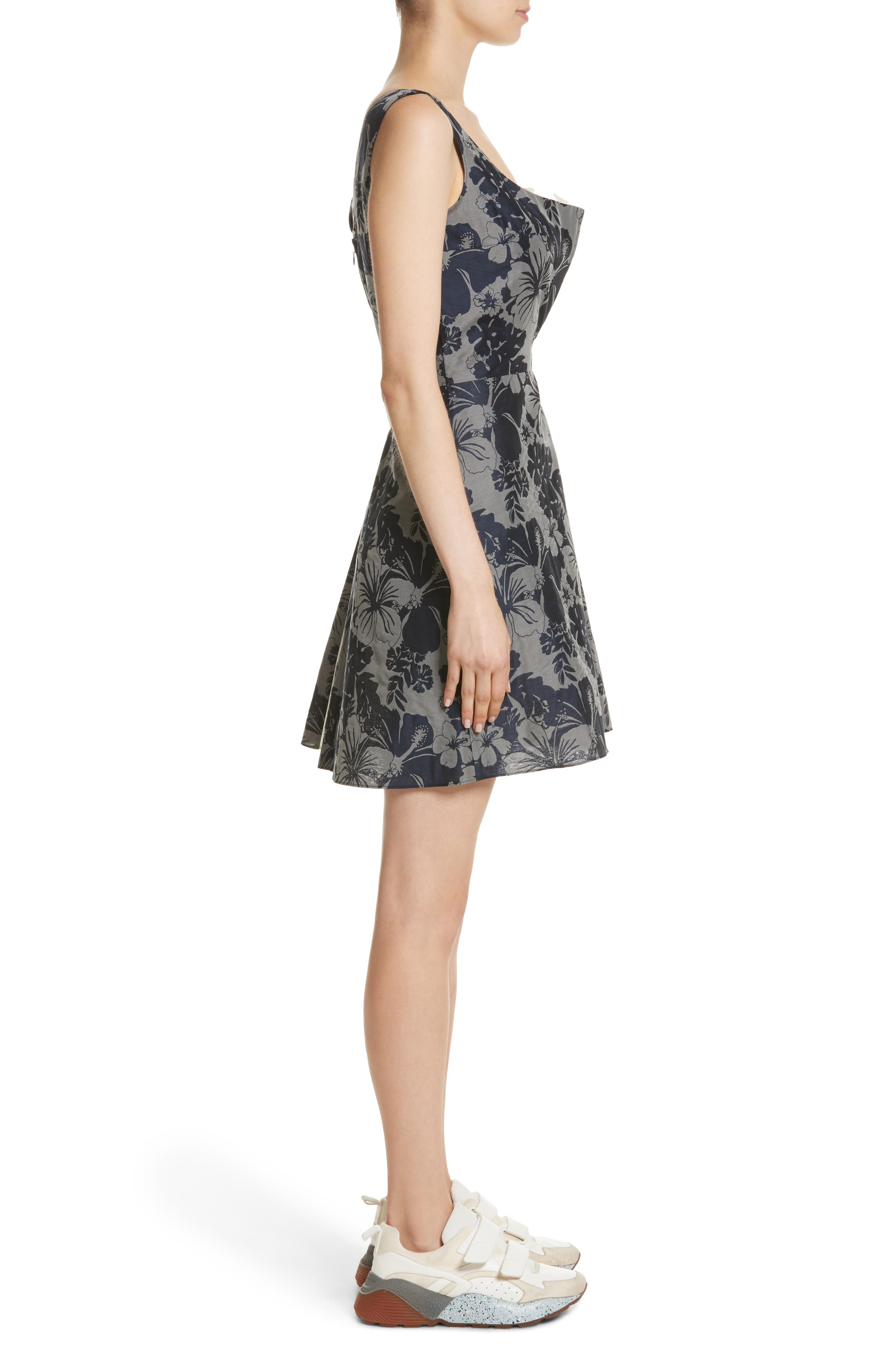 Pleated Floral Jacquard Dress,                             Alternate thumbnail 3, color,                             001