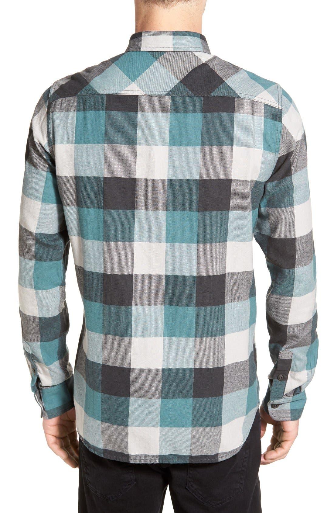 Trim Fit Check Flannel Woven Shirt,                             Alternate thumbnail 19, color,