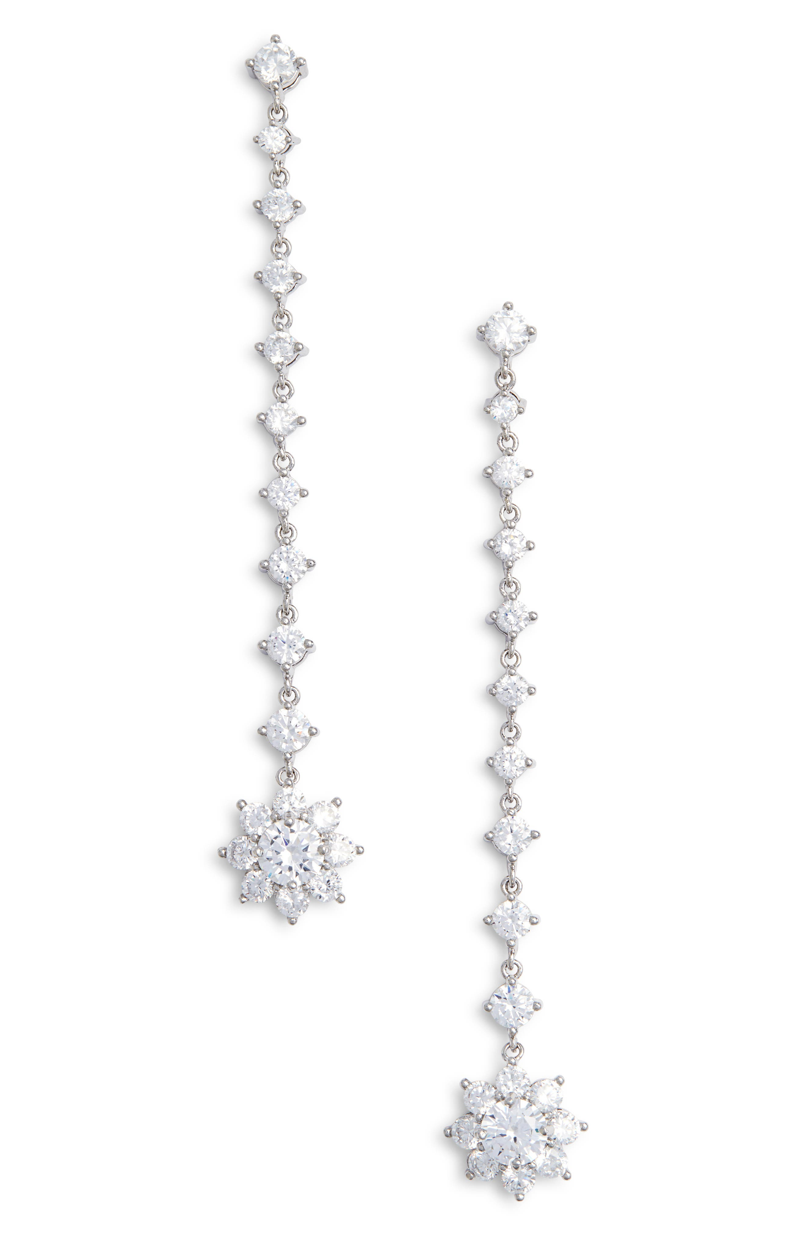 Small Flower Linear Drop Earrings,                             Main thumbnail 1, color,                             SILVER/ WHITE CZ