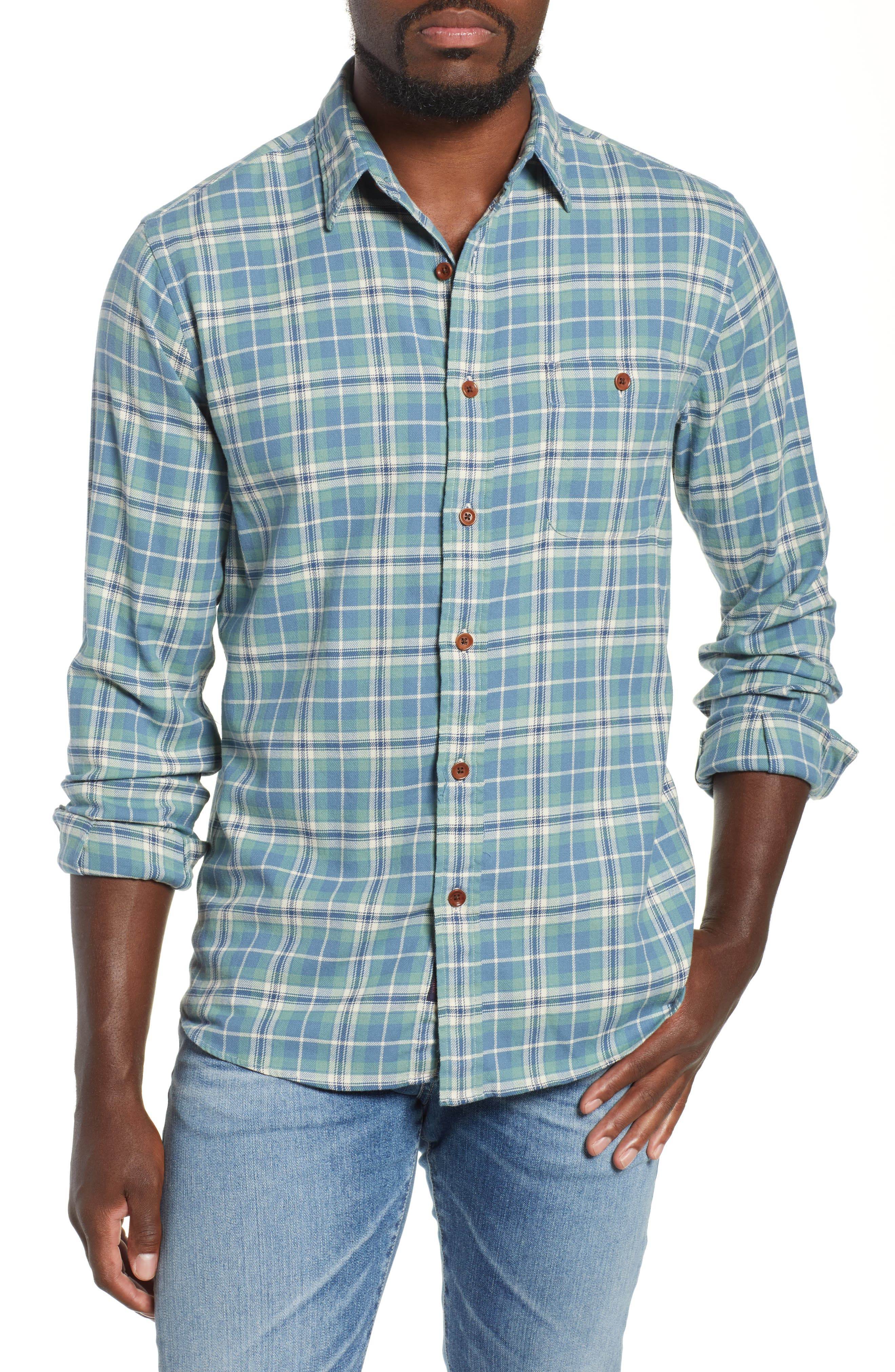 Faherty Seaview Stretch Organic Cotton Plaid Sport Shirt, Blue