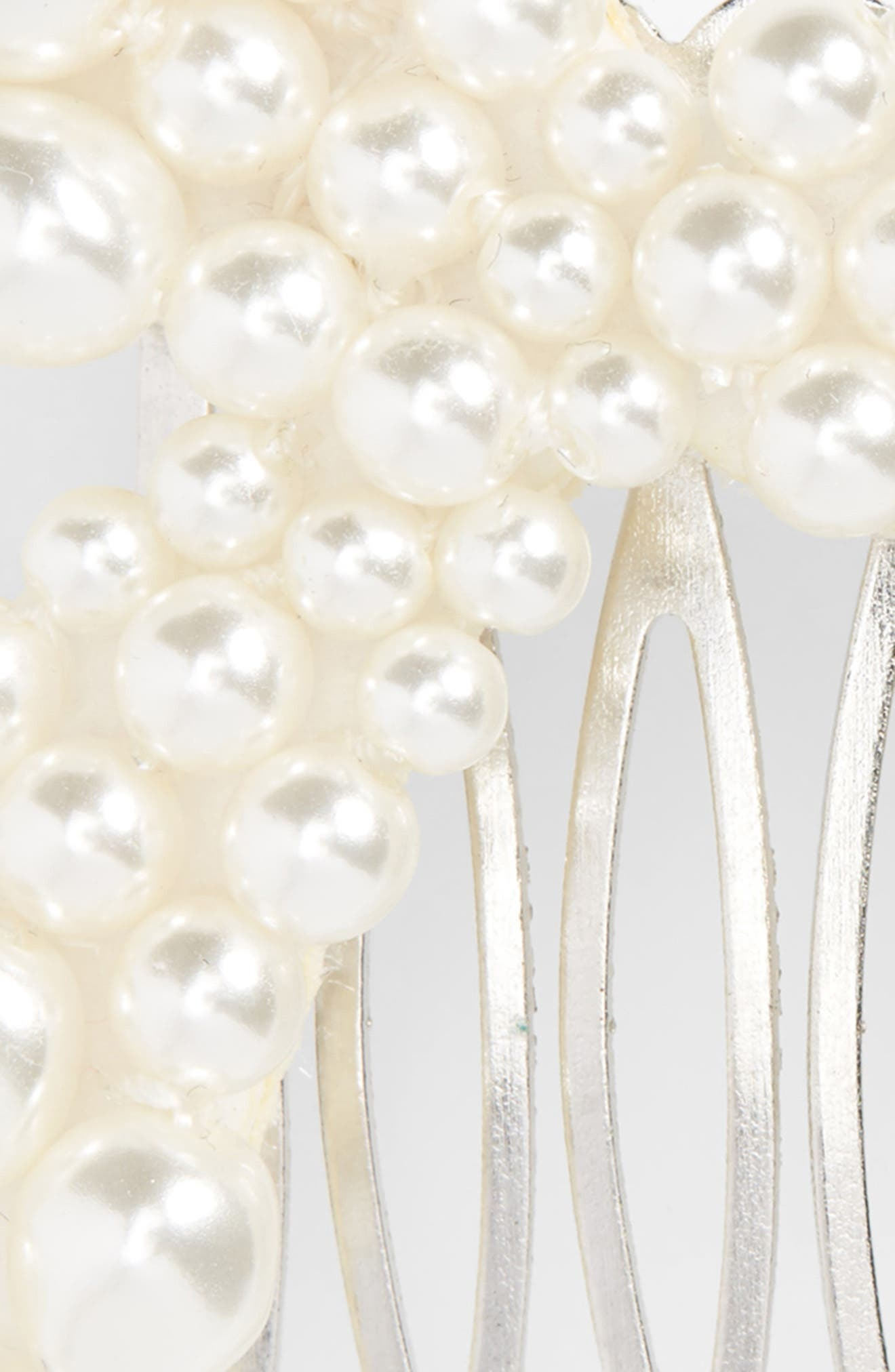Imitation Pearl Bow Hair Comb,                             Alternate thumbnail 4, color,                             PEARL