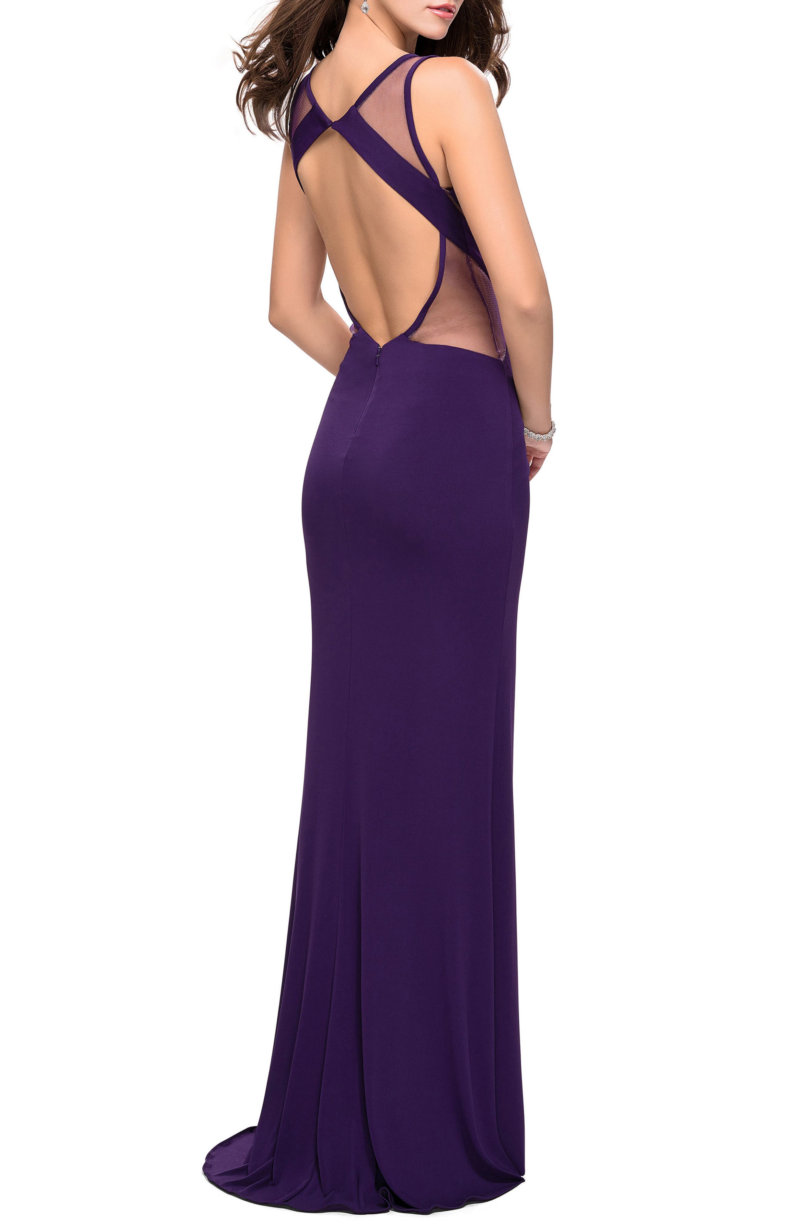 Geometric Cutout Jersey Gown,                             Alternate thumbnail 2, color,                             501