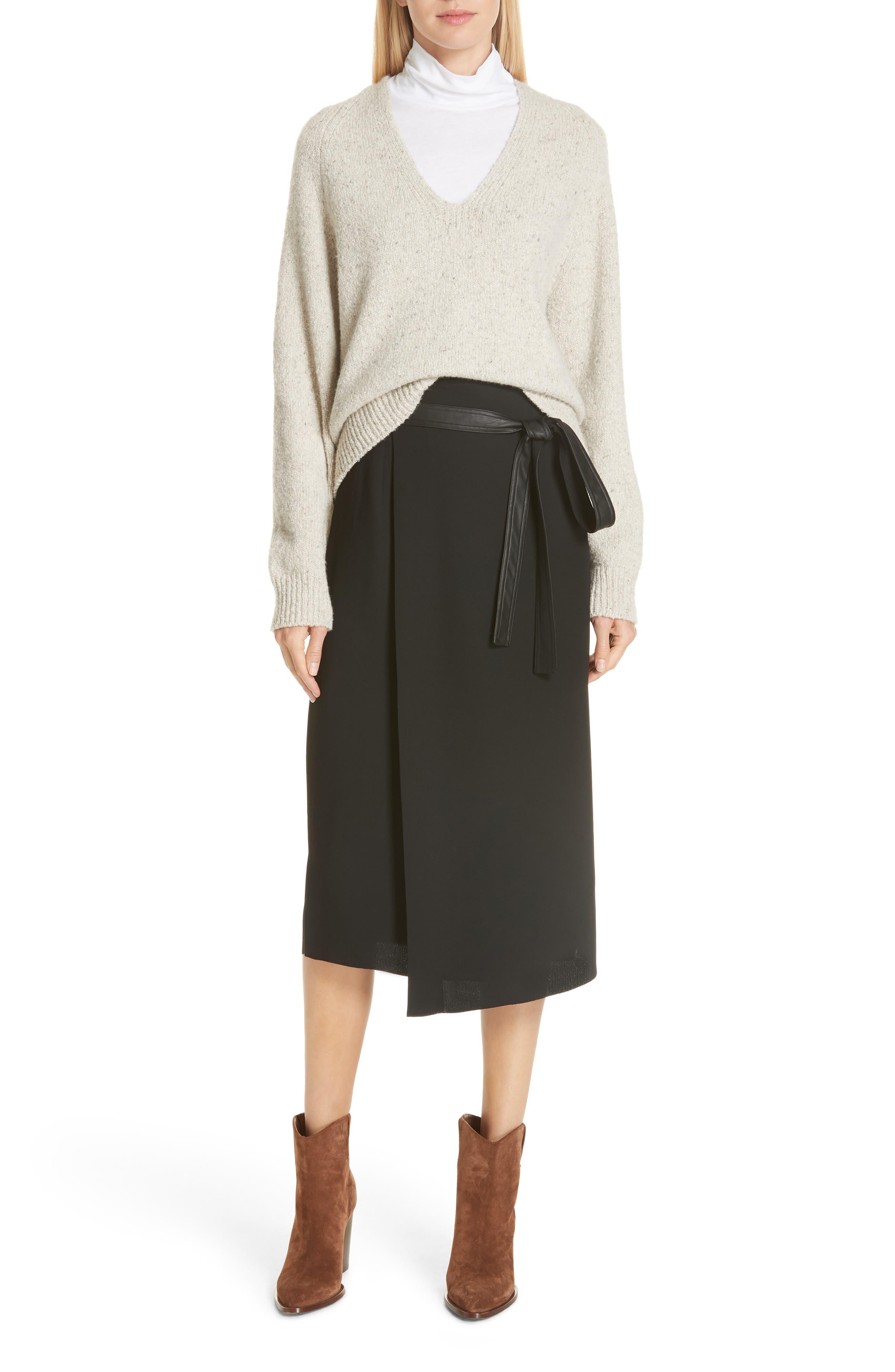 Belted Wrap Skirt,                         Main,                         color, BLACK