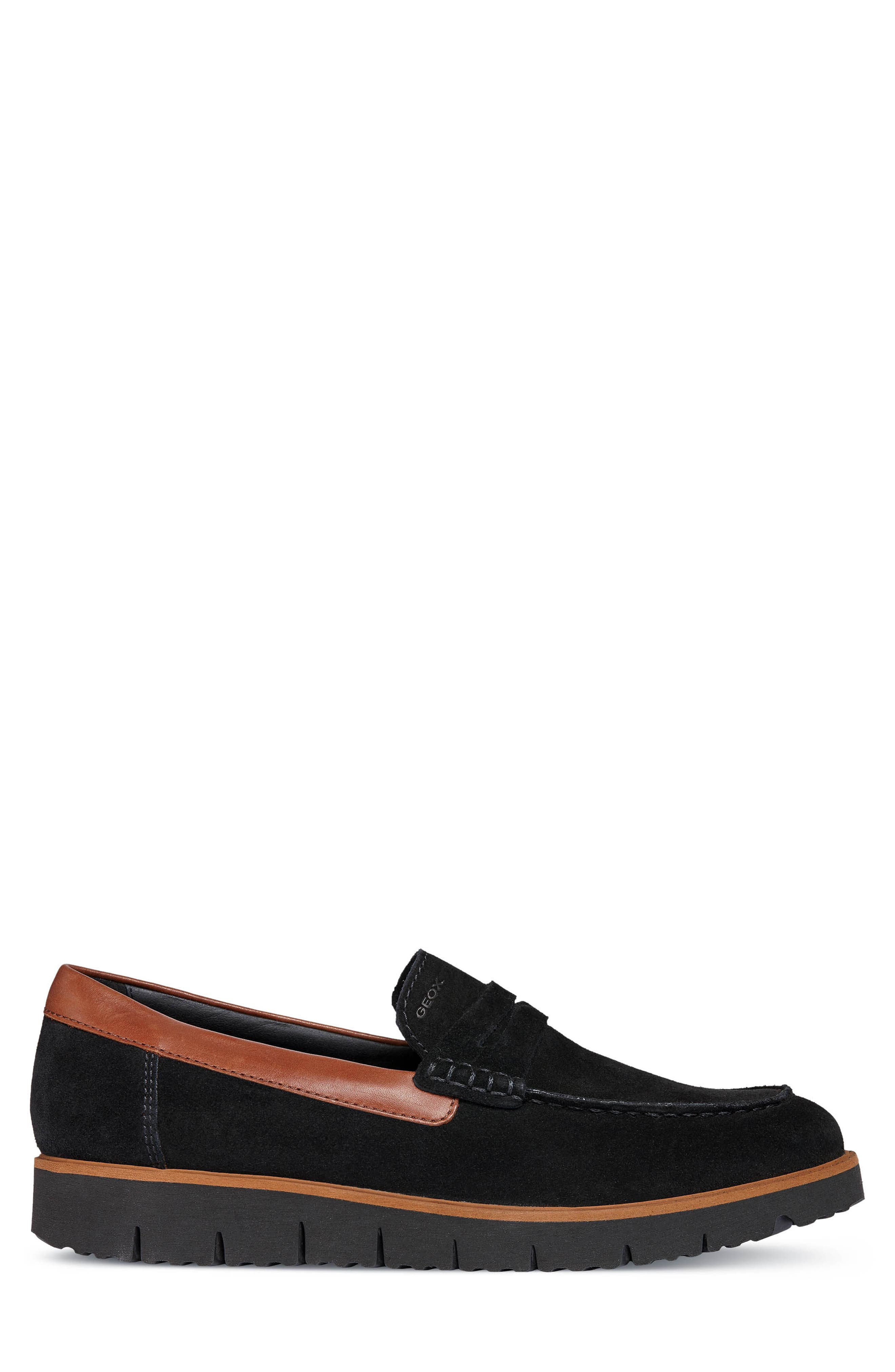 New Pluges 6 Penny Loafer,                             Alternate thumbnail 3, color,                             BLACK/ BROWN LEATHER