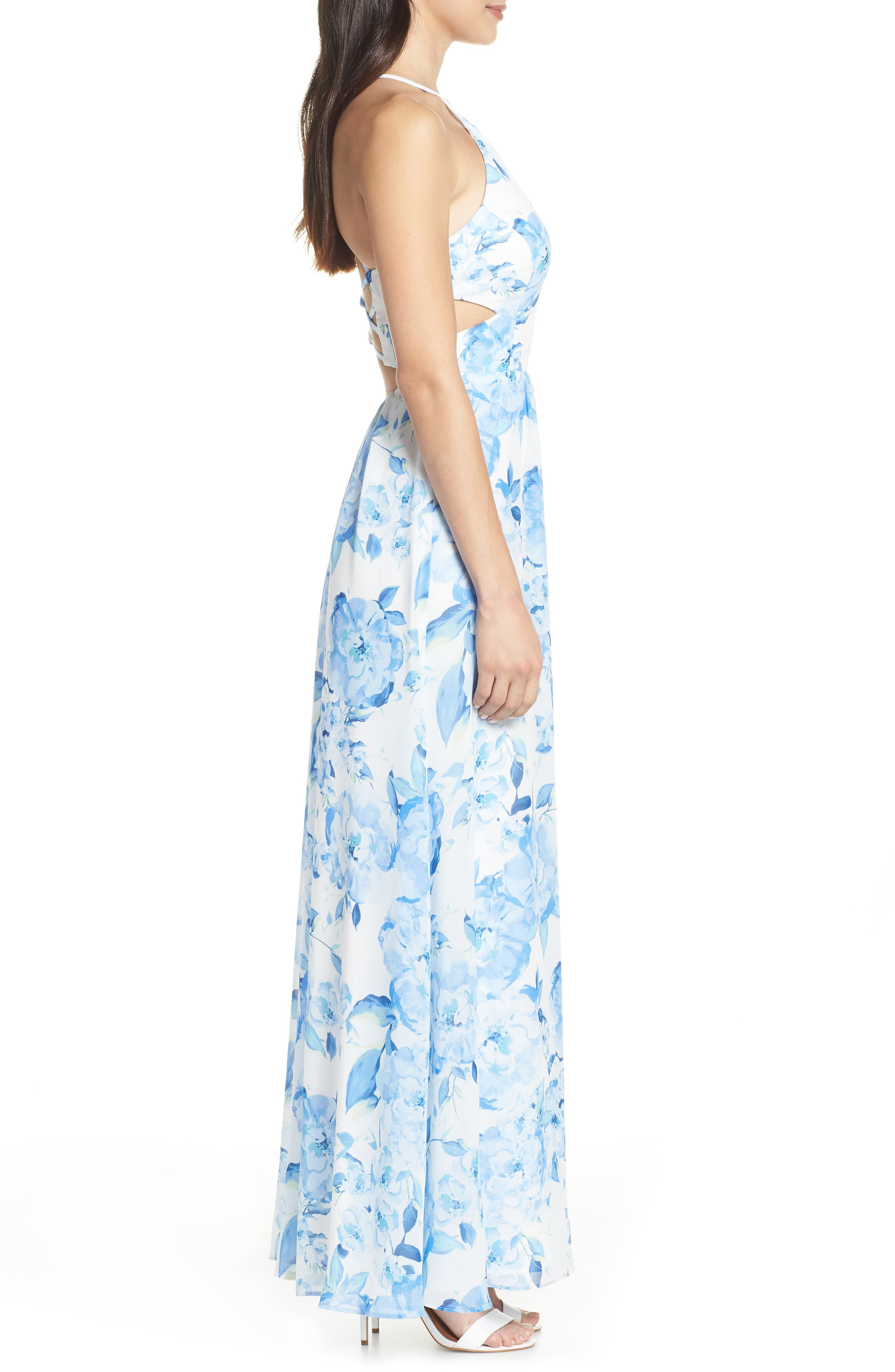 MORGAN & CO.,                             Floral Print Strappy Back Evening Dress,                             Alternate thumbnail 3, color,                             WHITE/ MULTI