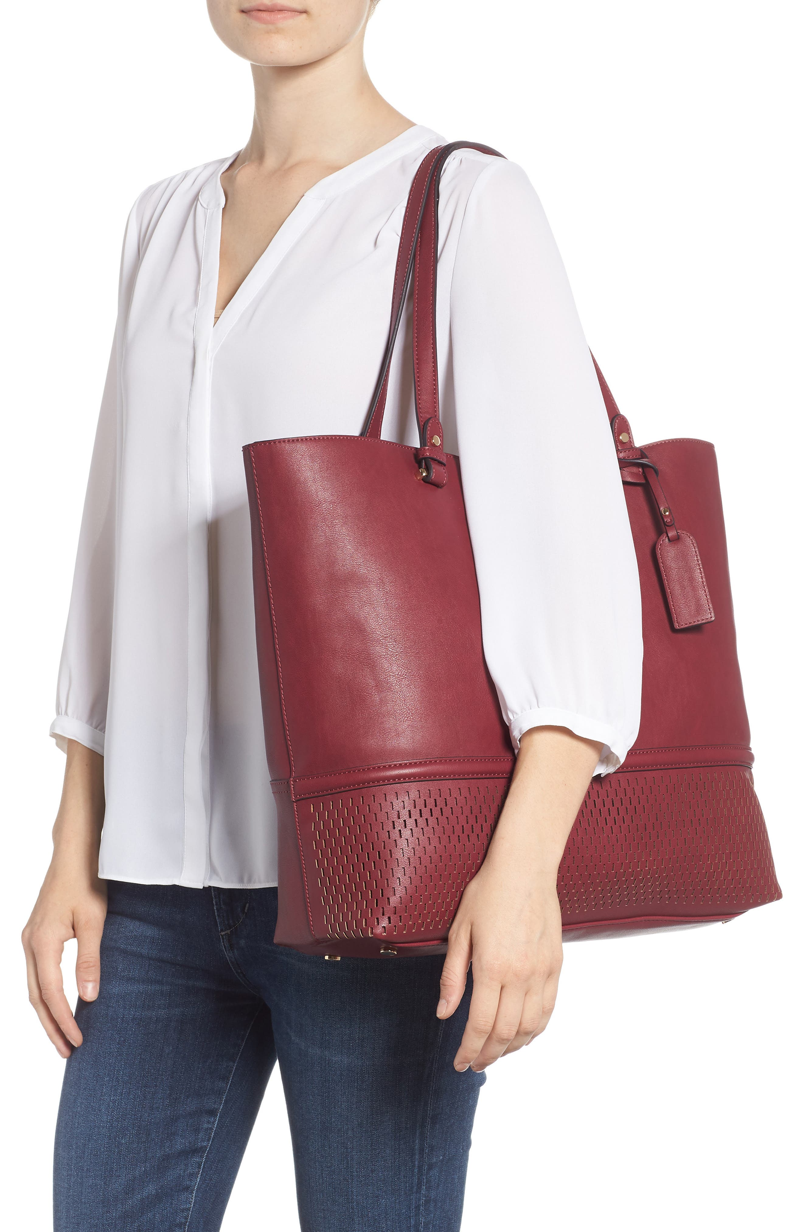 Oversize Faux Leather Tote,                             Alternate thumbnail 2, color,                             BERRY
