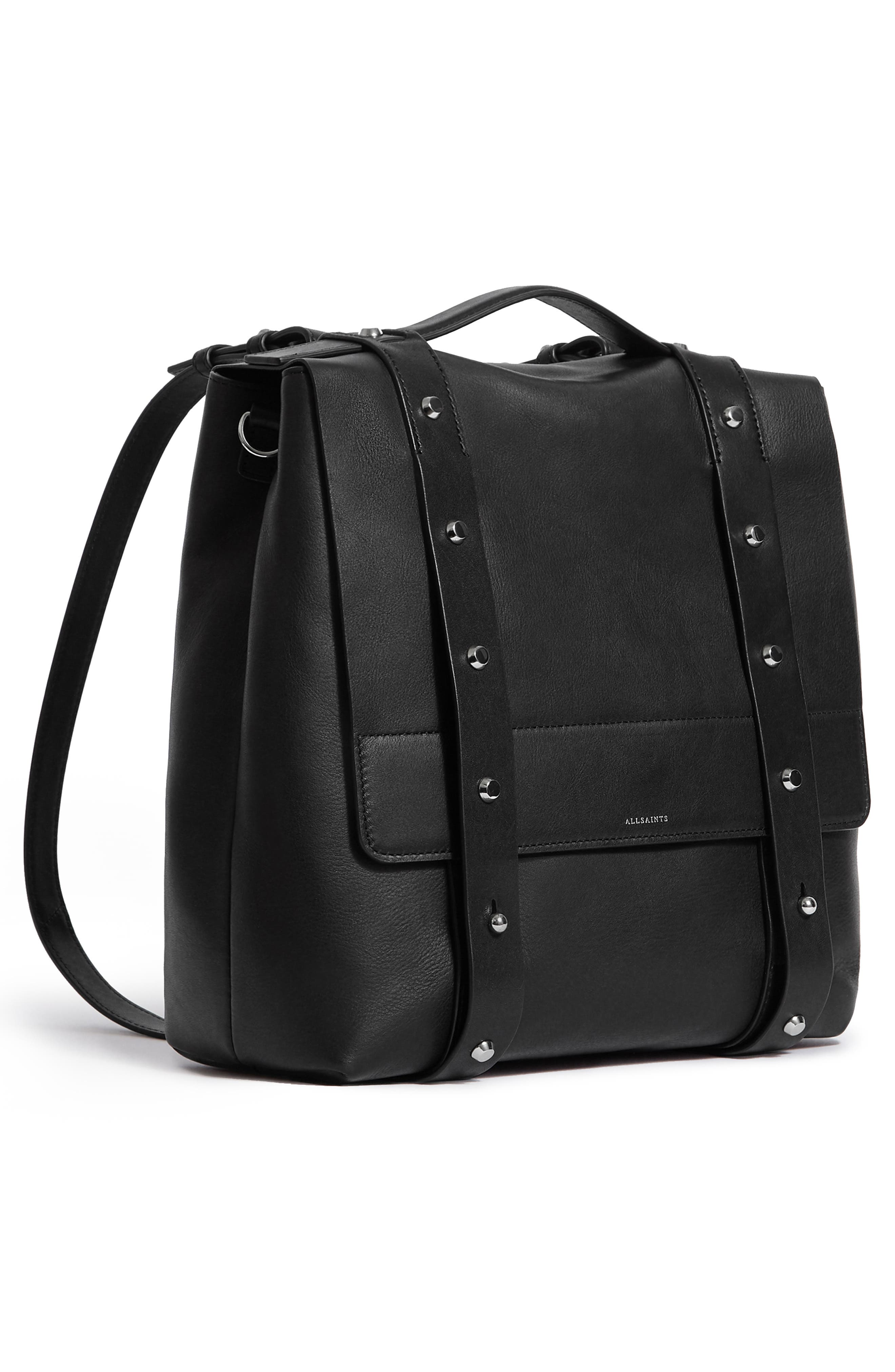 Sid Leather Convertible Backpack,                             Alternate thumbnail 4, color,                             BLACK