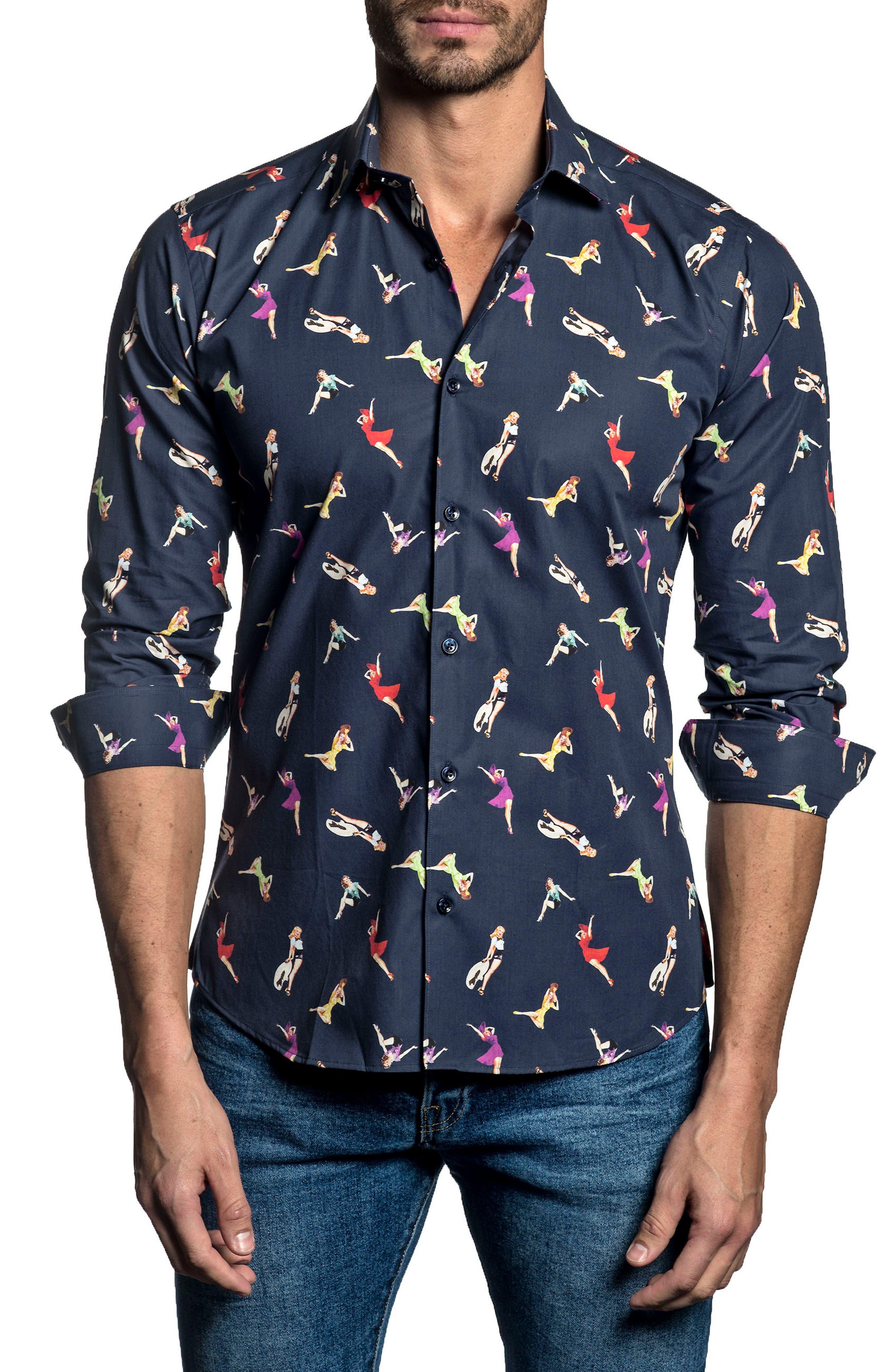 Trim Fit Lady Print Sport Shirt,                         Main,                         color, 415