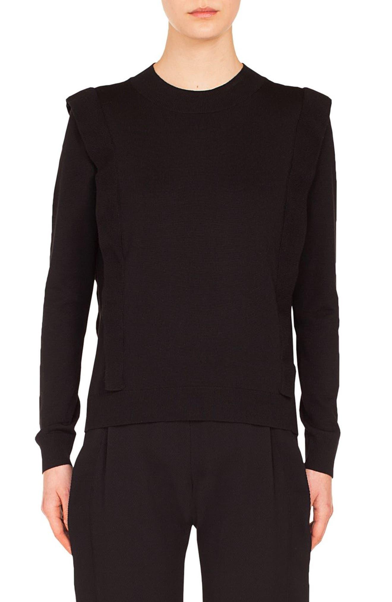 Ruffle Detail Wool Sweater,                             Main thumbnail 1, color,                             BLACK