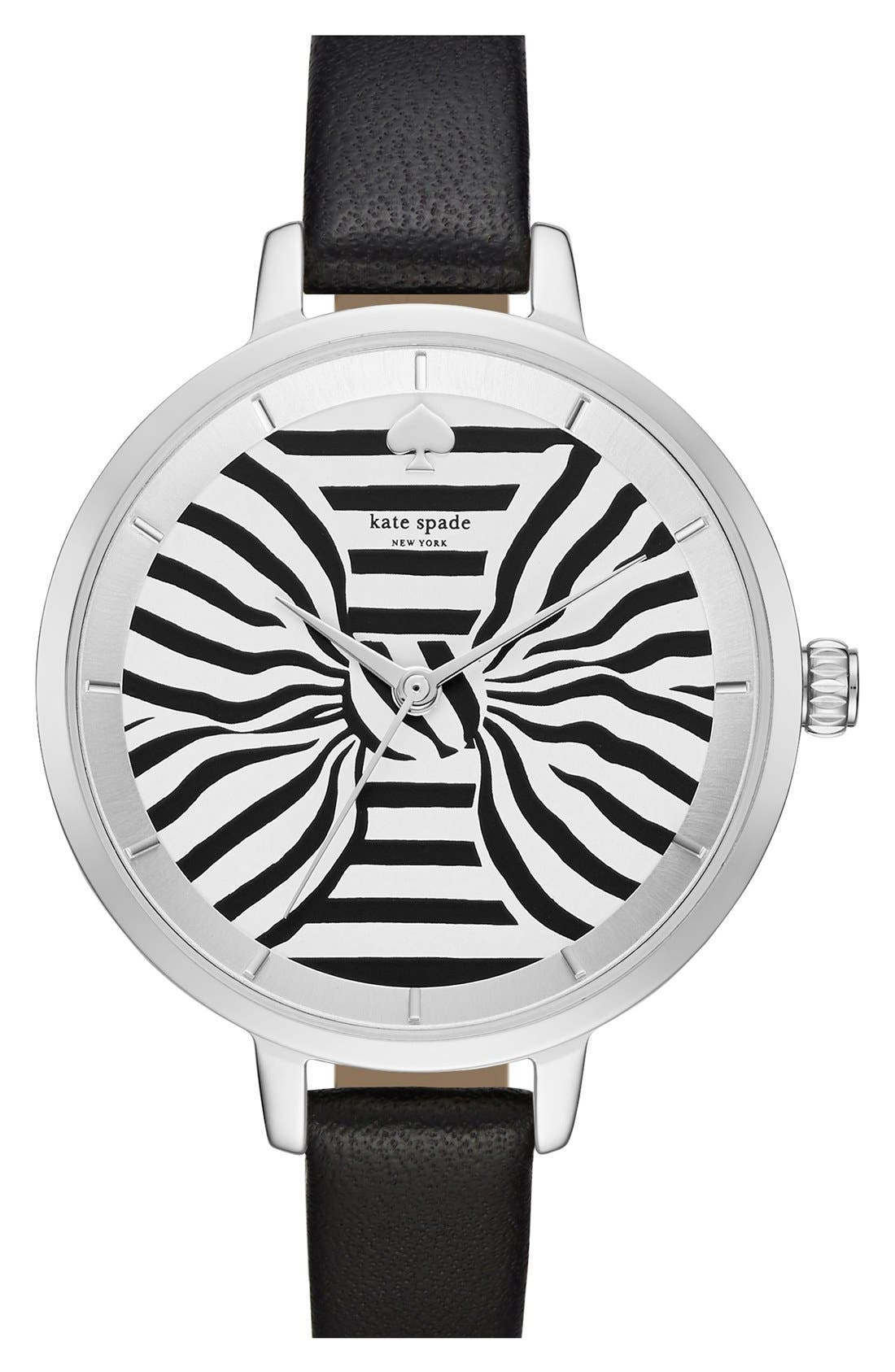 KATE SPADE NEW YORK 'metro - bow' leather strap watch, 34mm, Main, color, 001