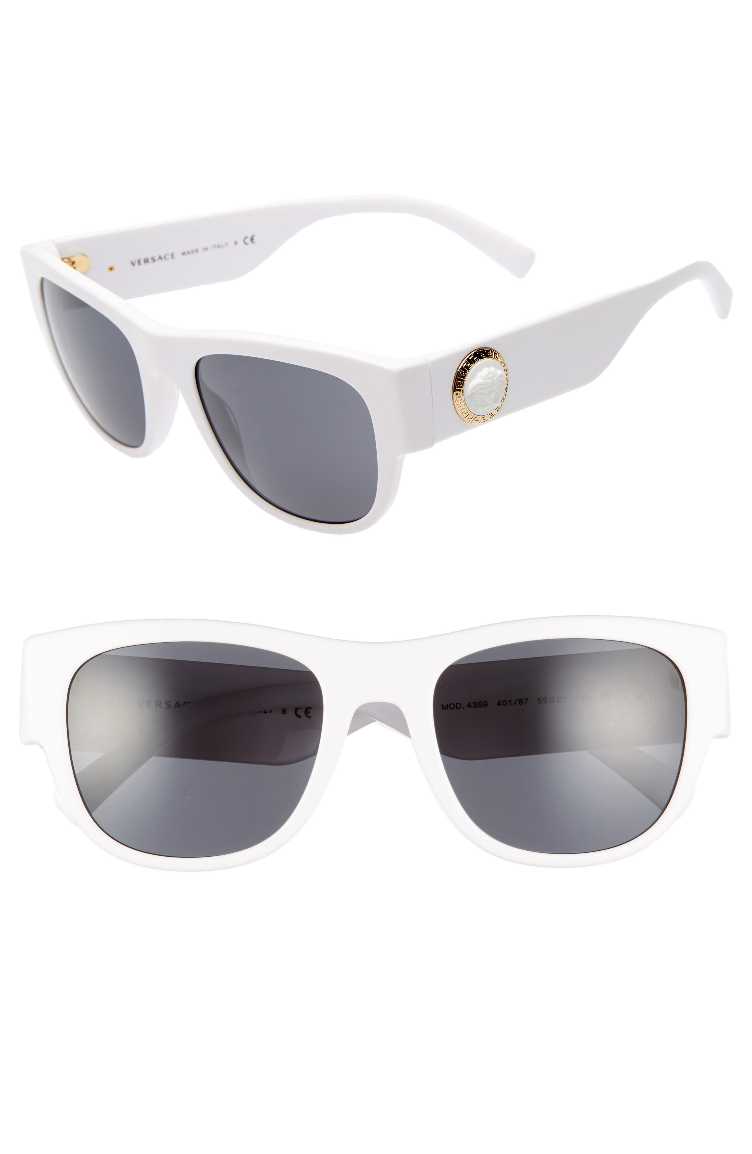 55mm Square Sunglasses,                             Main thumbnail 1, color,                             WHITE/ GREY SOLID