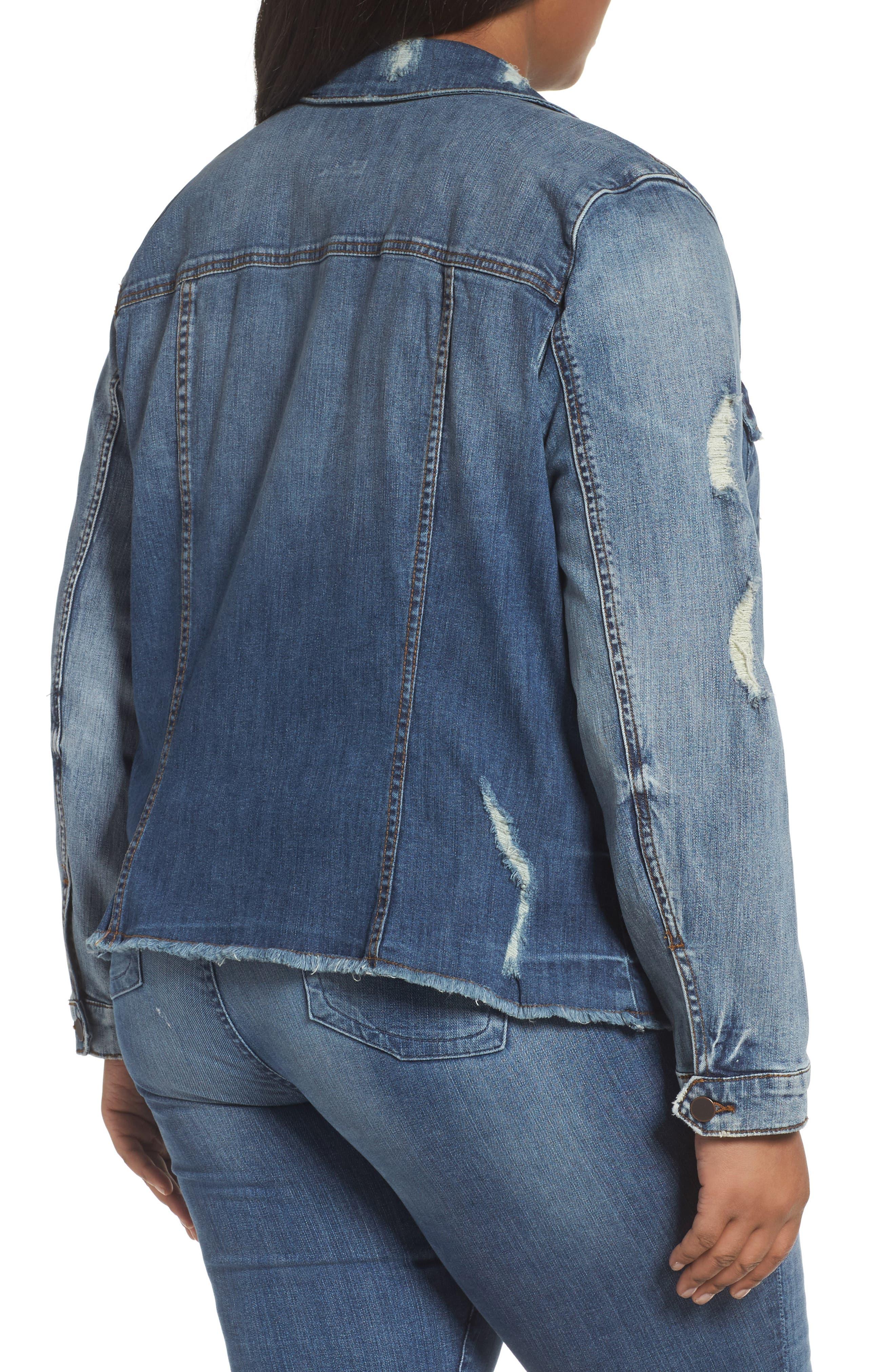 Distressed Denim Jacket,                             Alternate thumbnail 2, color,                             400