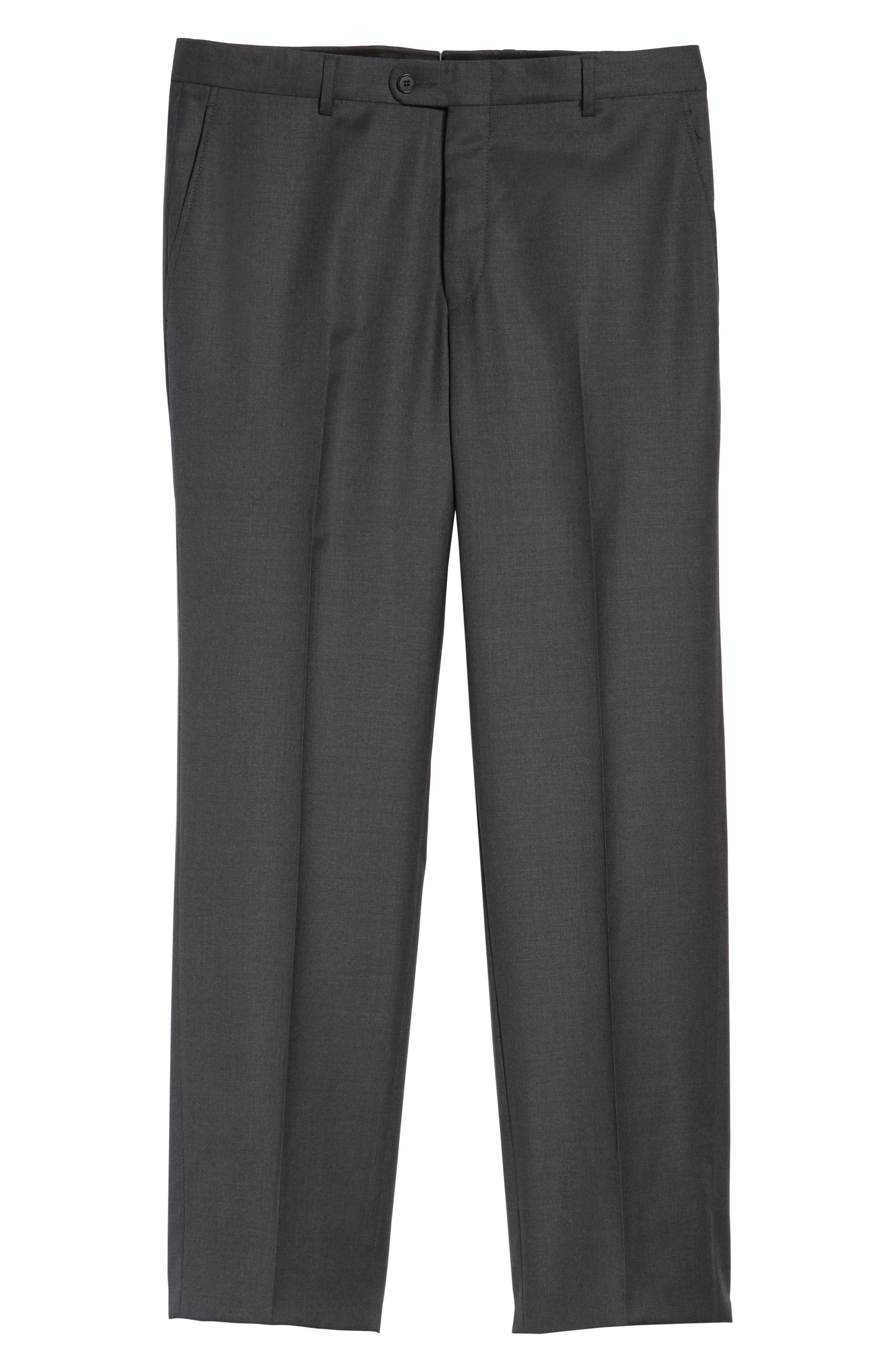 Classic B Fit Flat Front Solid Wool Trousers,                             Alternate thumbnail 6, color,                             CHARCOAL SHARKSKIN