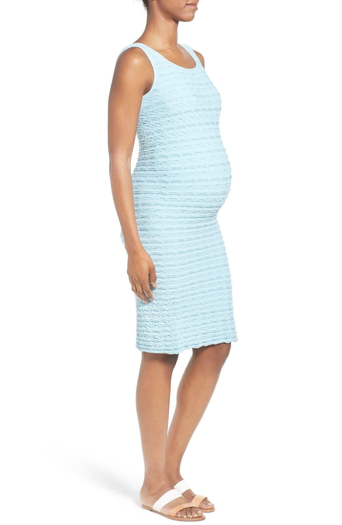 'Crinkle' Tank Maternity Dress,                             Alternate thumbnail 3, color,                             SKY BLUE