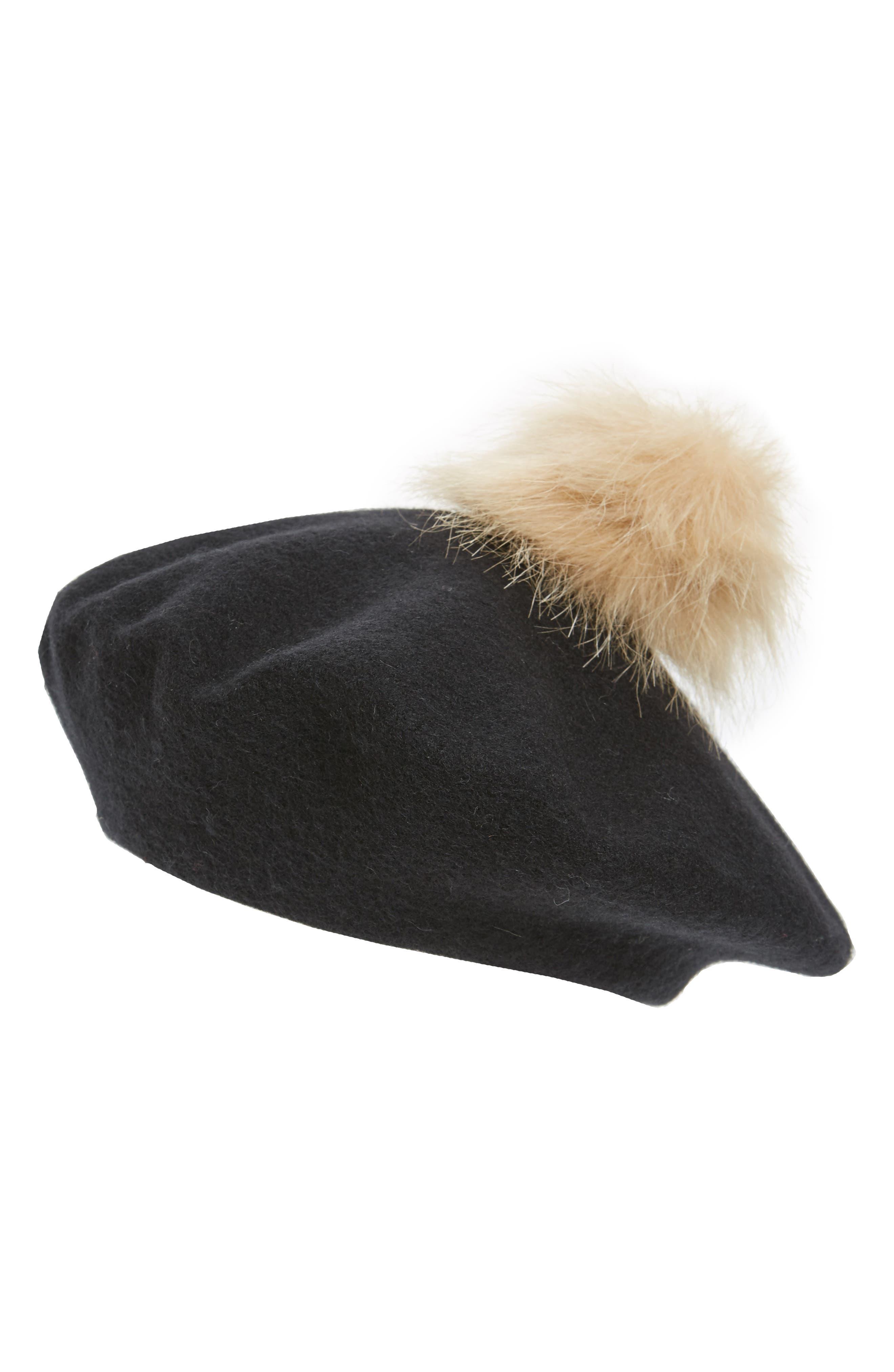 Faux Fur Pompom Beret,                             Main thumbnail 1, color,                             001