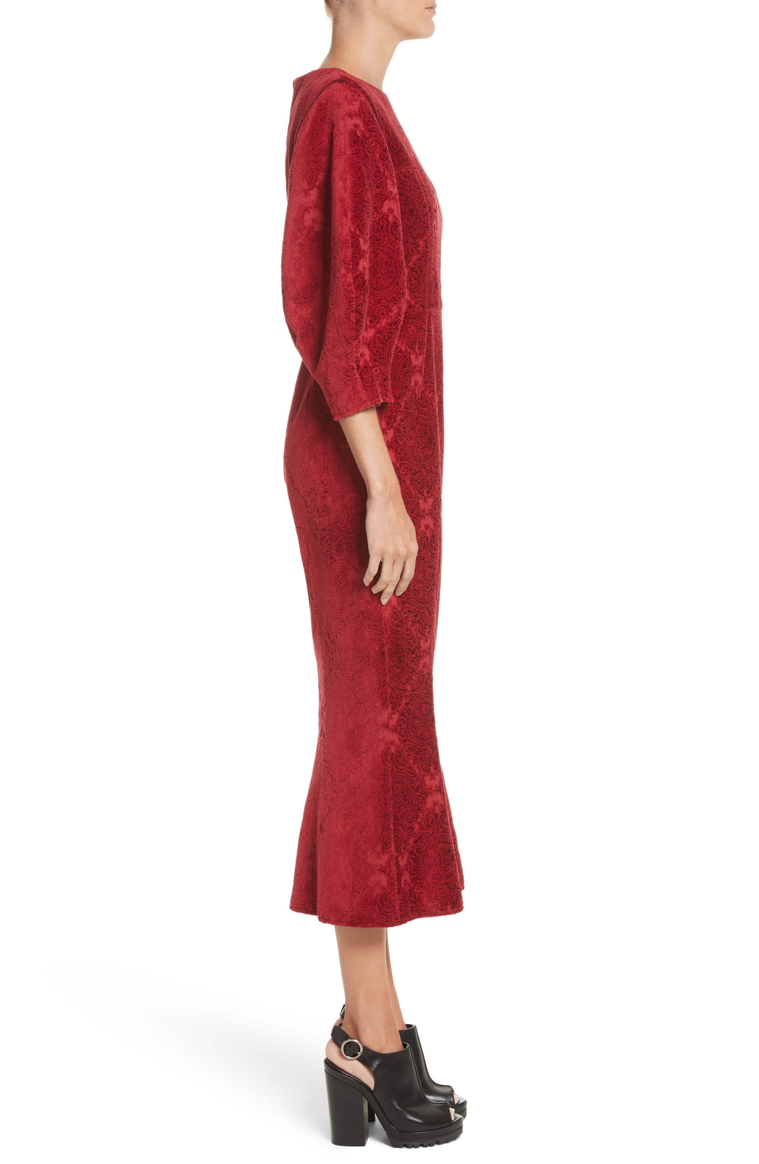 Detachable Sleeve Flocked Velvet Dress,                             Alternate thumbnail 3, color,                             600