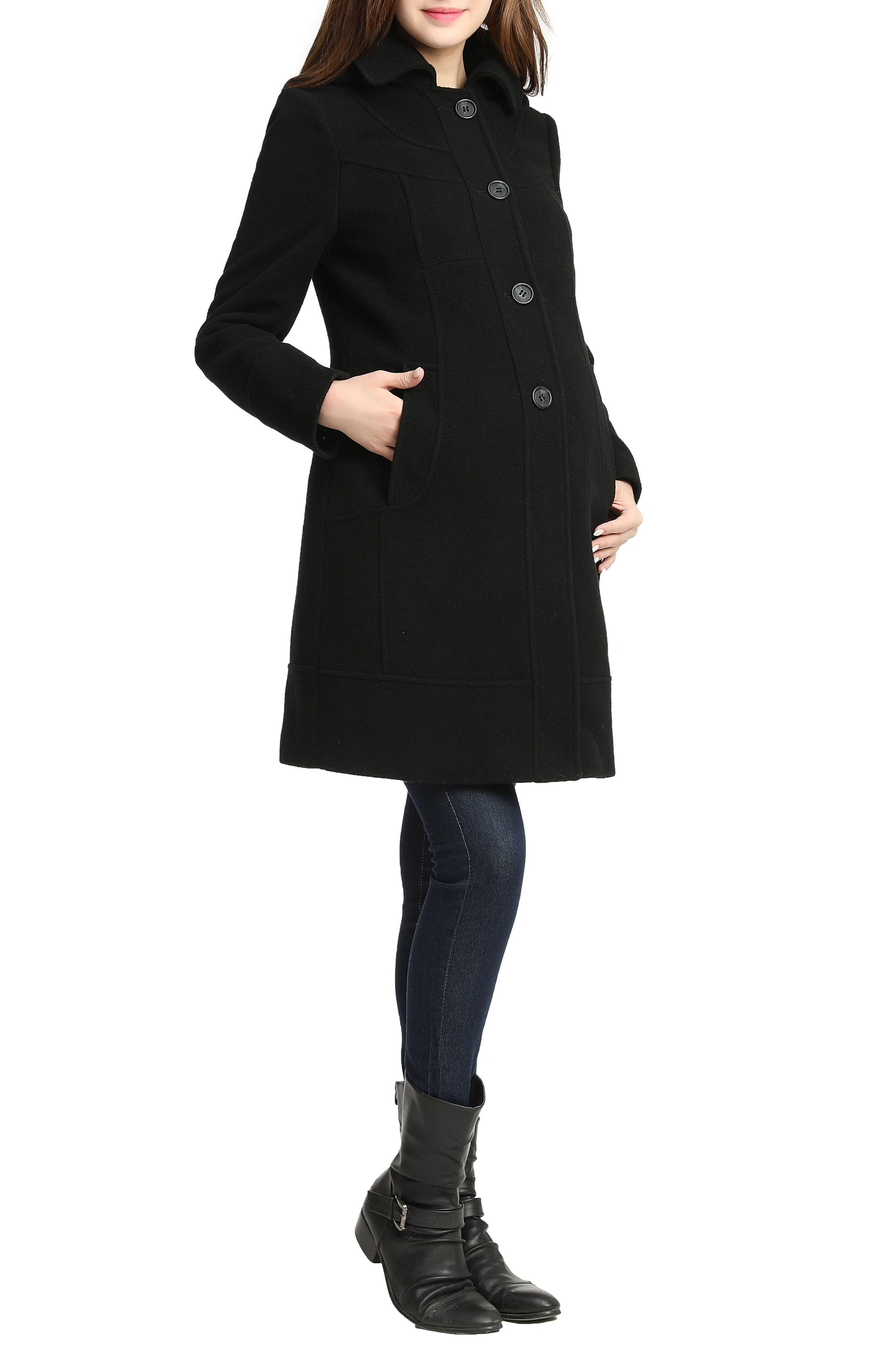 Wool Blend Maternity Coat,                             Alternate thumbnail 3, color,                             BLACK