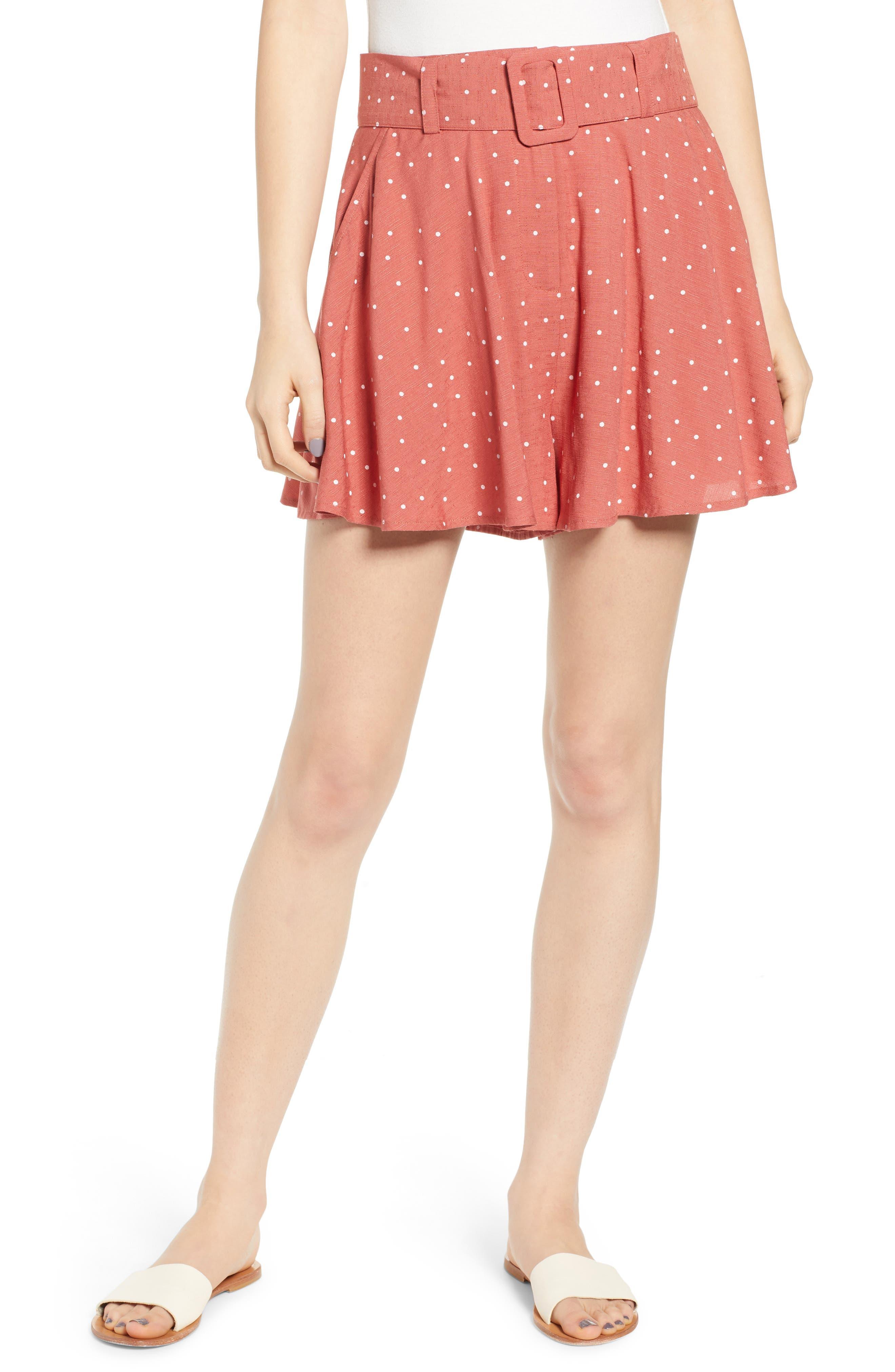 Vintage High Waisted Shorts, Sailor Shorts, Capris Womens Moon River Belted Wide Leg Shorts $54.00 AT vintagedancer.com