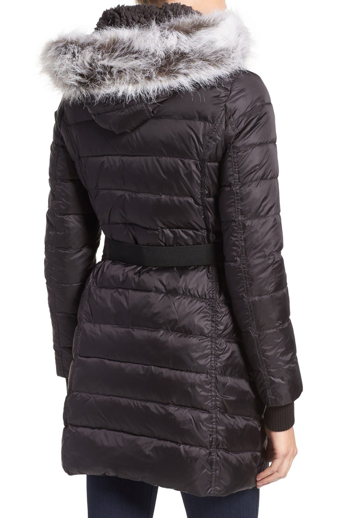 Quilted Coat with Faux Fur Trim Hood,                             Alternate thumbnail 2, color,                             001