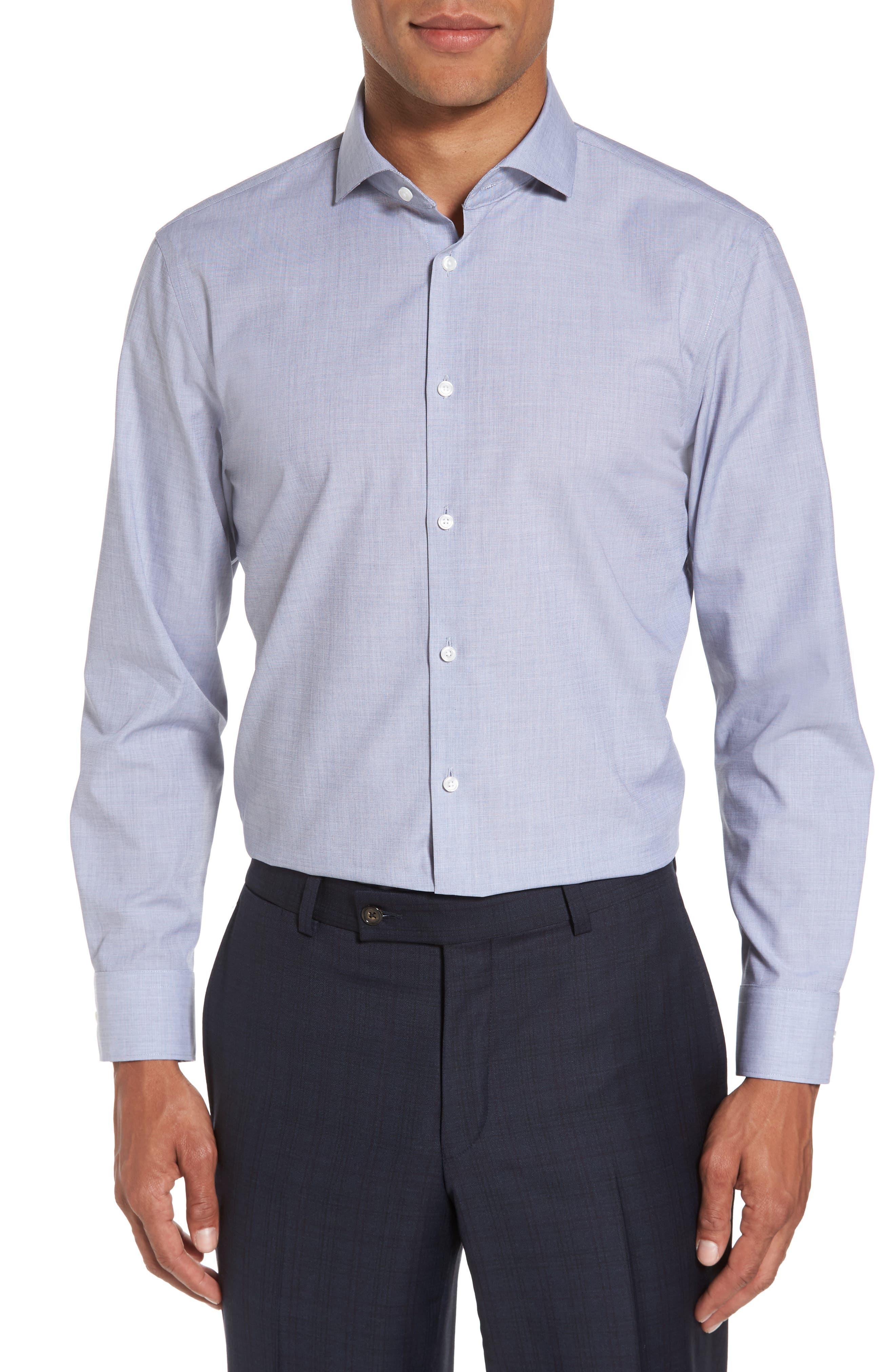 Extra Trim Fit Stretch No-Iron Dress Shirt,                         Main,                         color, 401