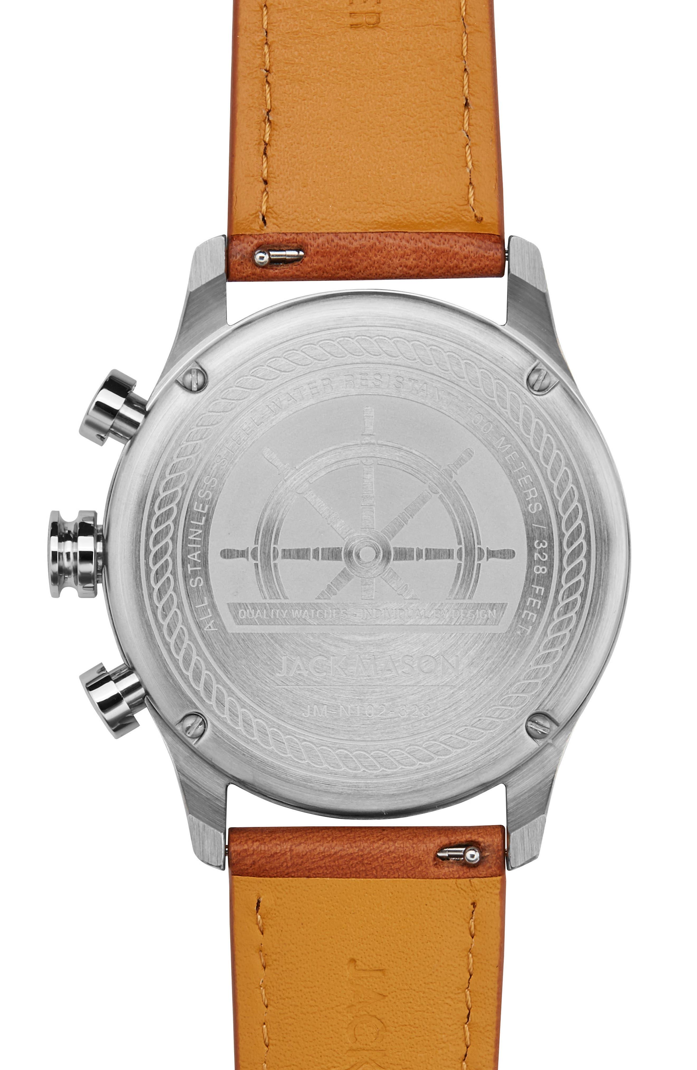 JACK MASON,                             Nautical Chronograph Leather Strap Watch, 42mm,                             Alternate thumbnail 2, color,                             250