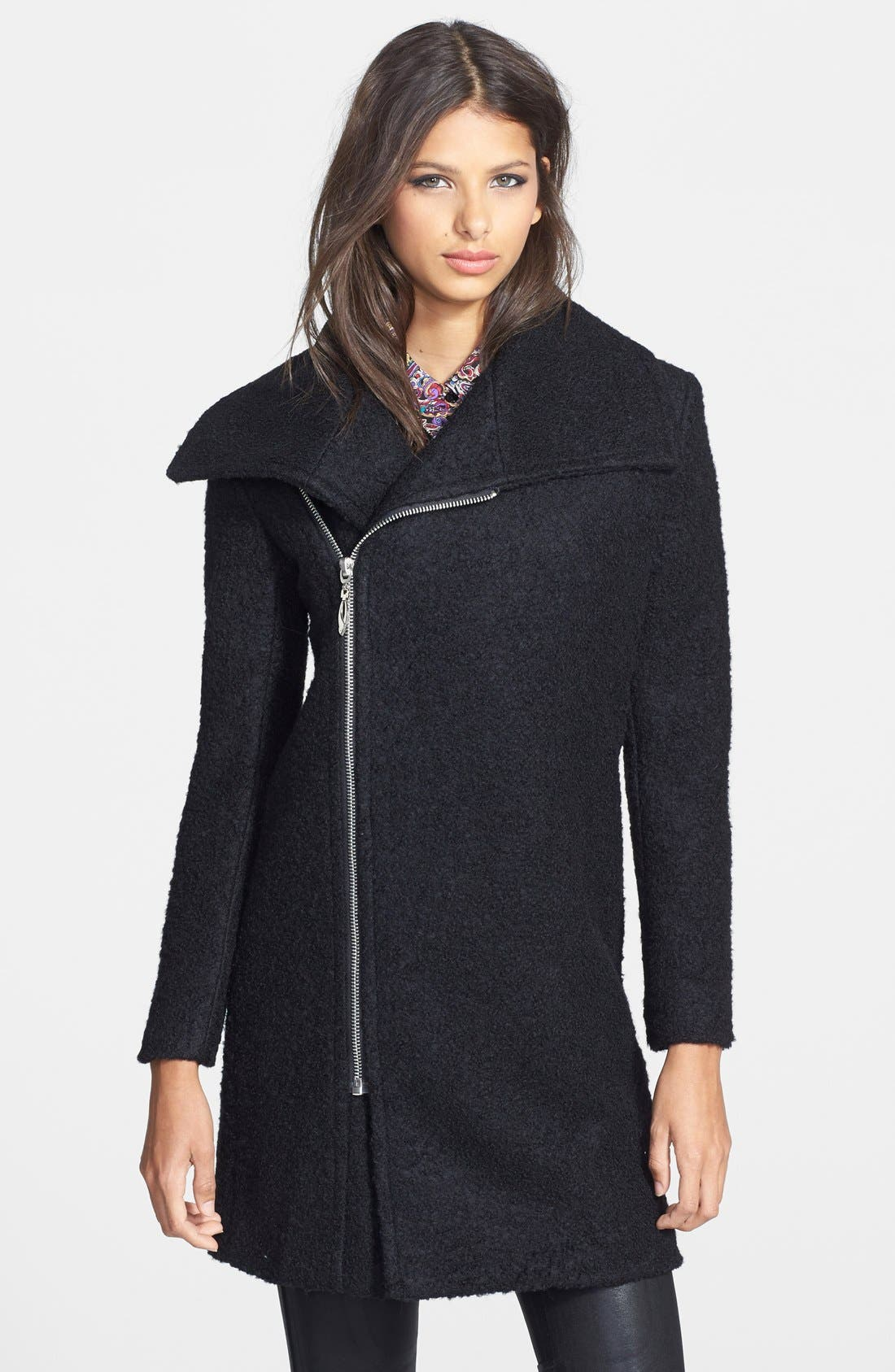 Asymmetrical Zip Coat,                         Main,                         color, 001