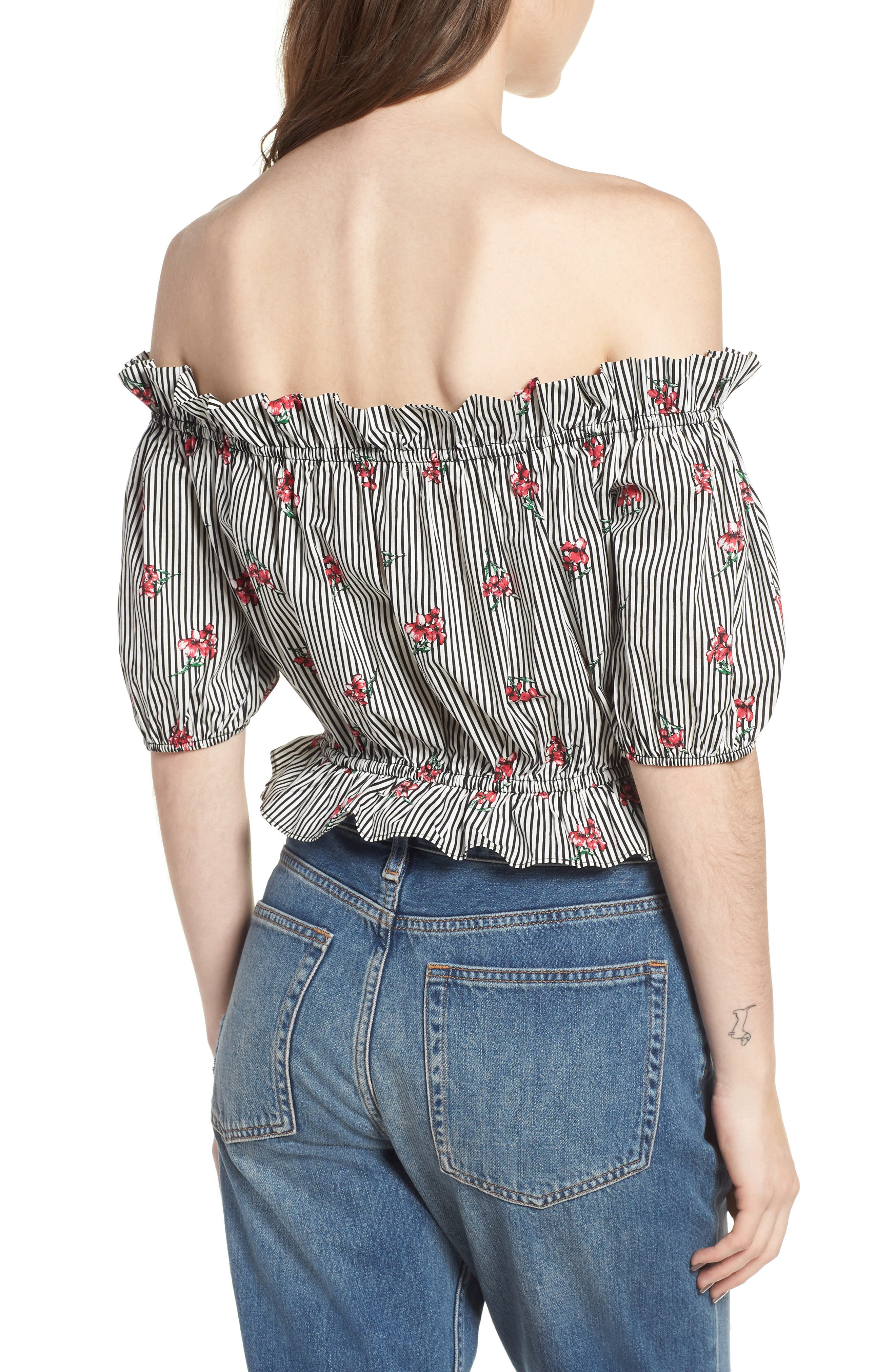 Floral Stripe Off the Shoulder Crop Top,                             Alternate thumbnail 2, color,                             001