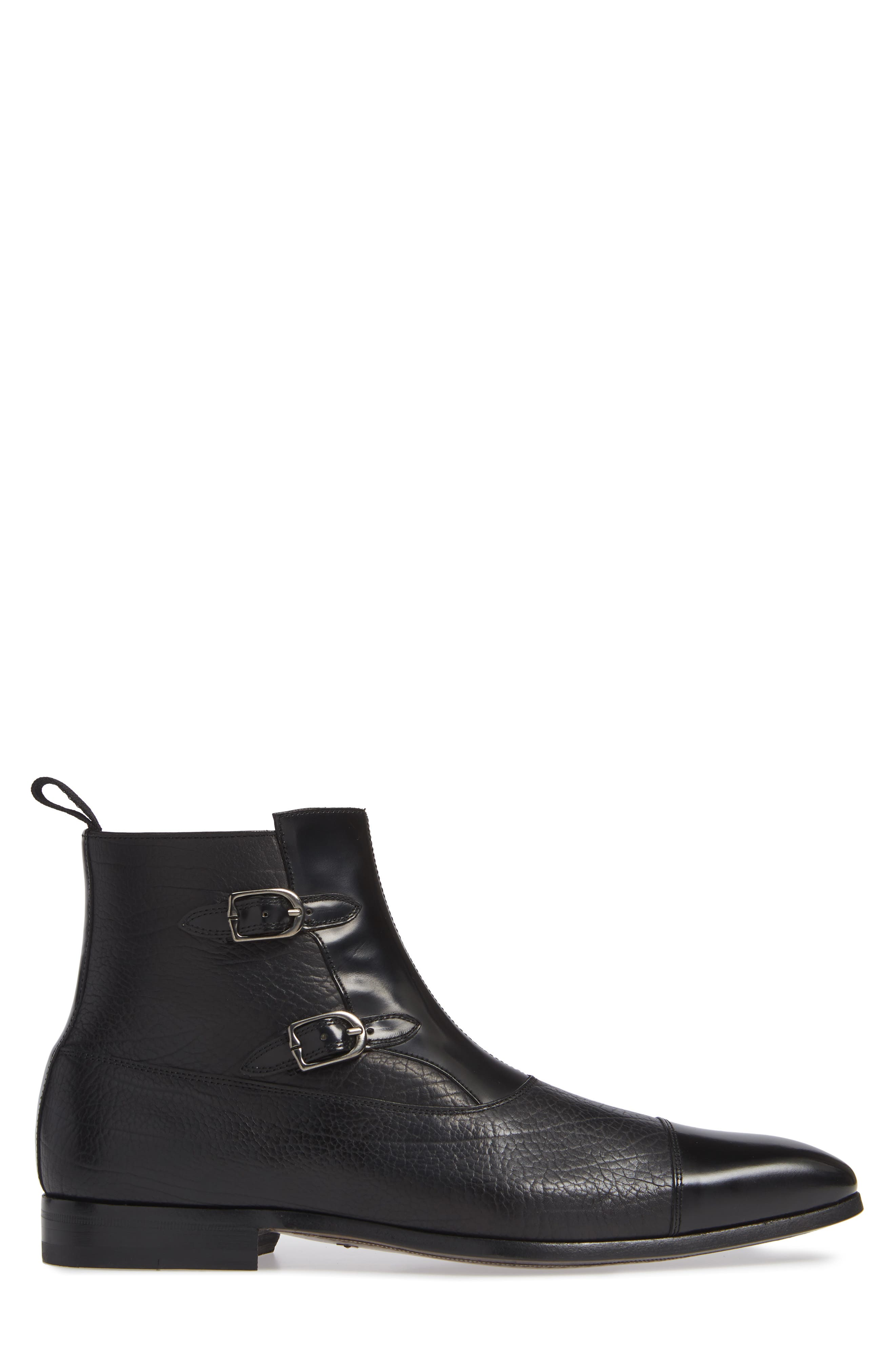 Tracy Double Buckle Cap Toe Boot,                             Alternate thumbnail 3, color,                             BLACK LEATHER