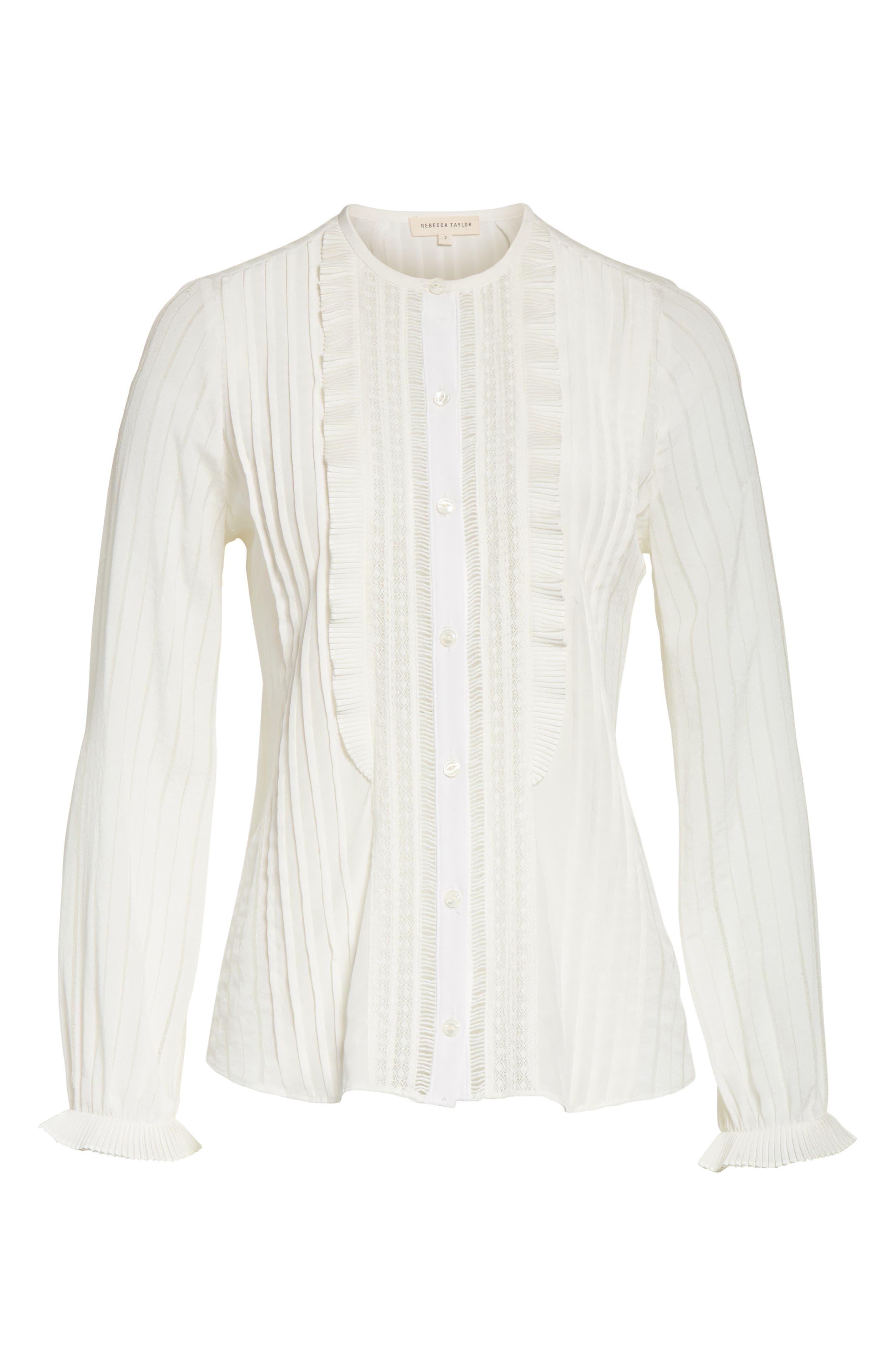Silk & Lace Long Sleeve Blouse,                             Alternate thumbnail 6, color,                             178