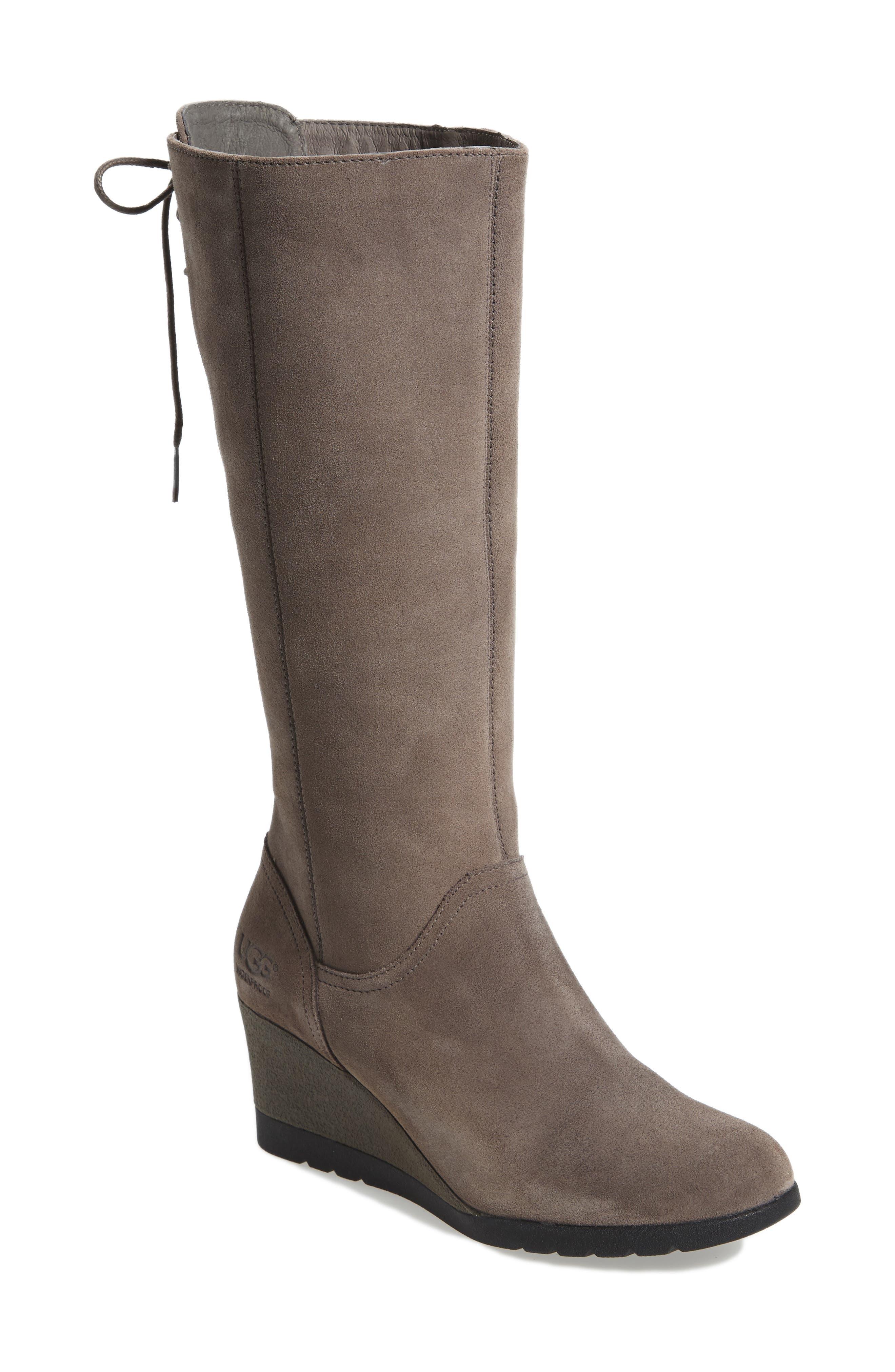 Ugg Dawna Waterproof Wedge Boot, Grey