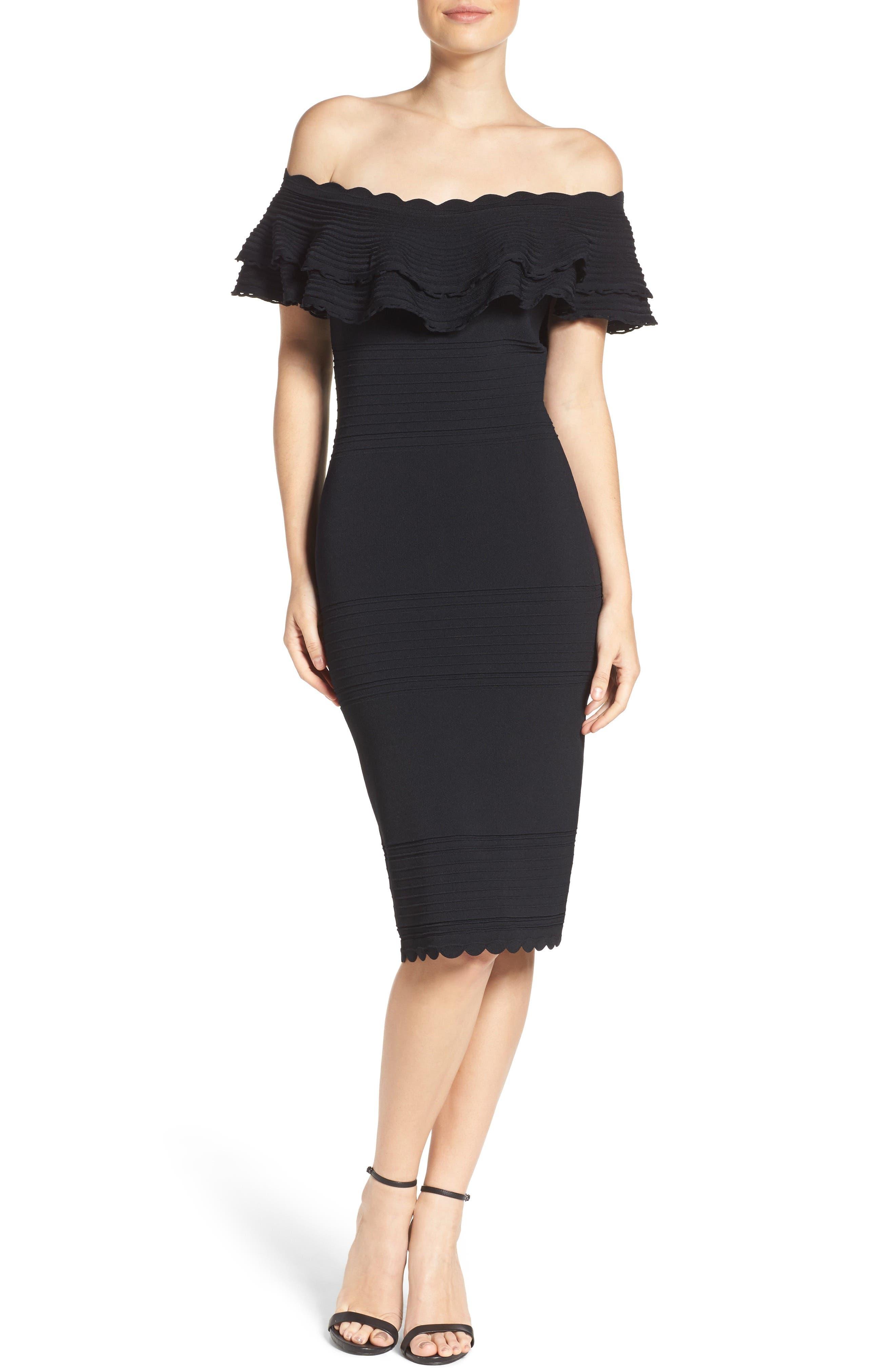 Eliza J Off The Shoulder Ruffle Sheath Dress
