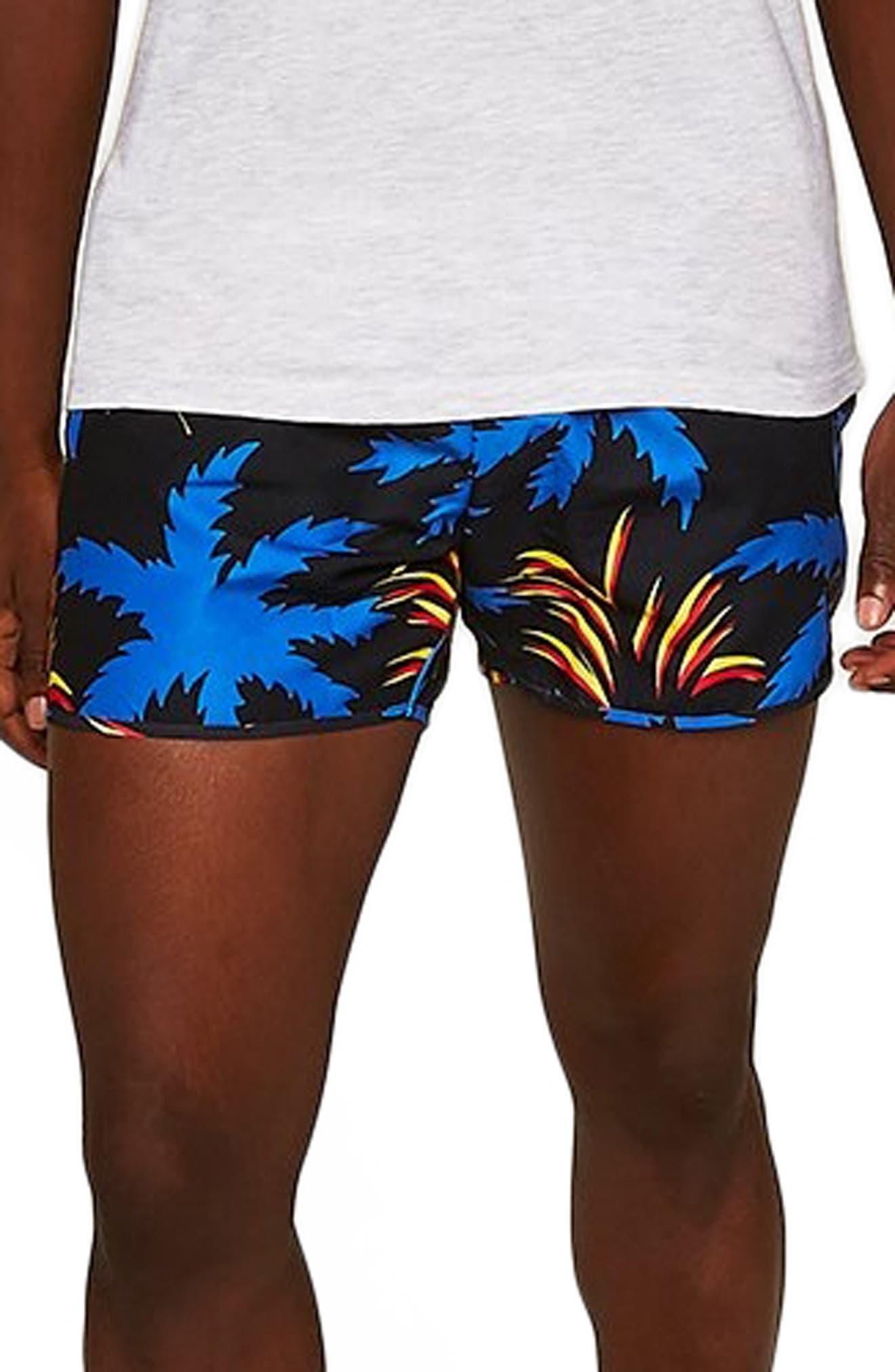 Palm Munday Print Swim Trunks,                             Main thumbnail 1, color,                             001