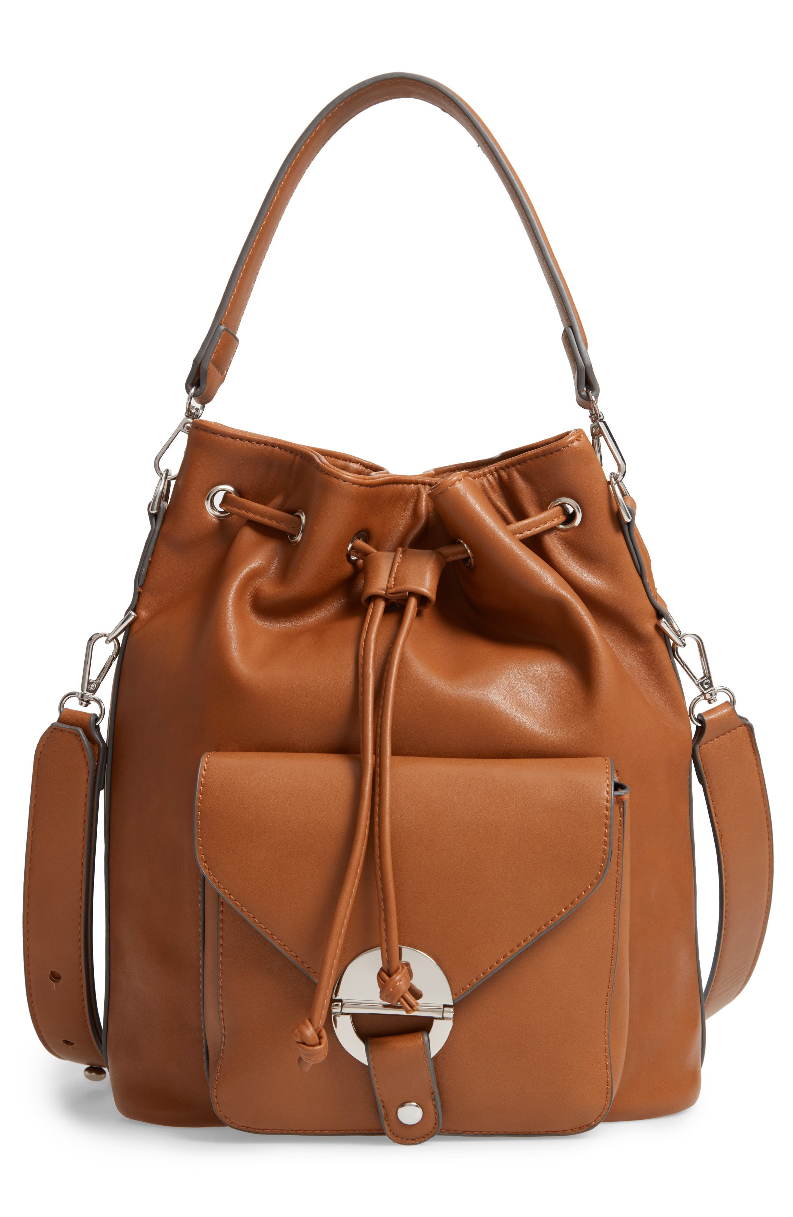 Faux Leather Bucket Bag,                             Alternate thumbnail 3, color,                             200