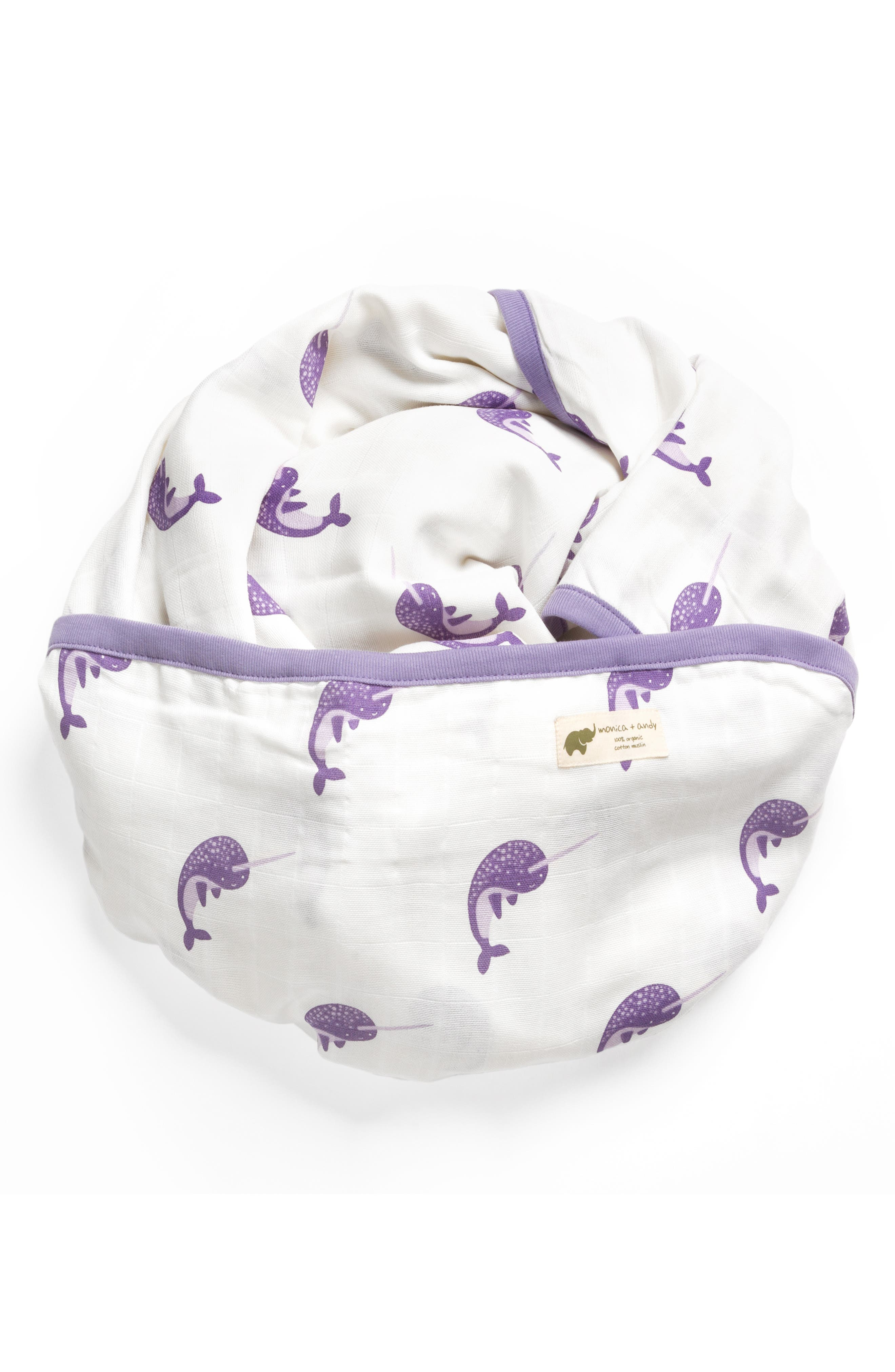 Hello Narwhal Organic Cotton Always Blanket,                             Main thumbnail 1, color,                             HELLO NARWHAL
