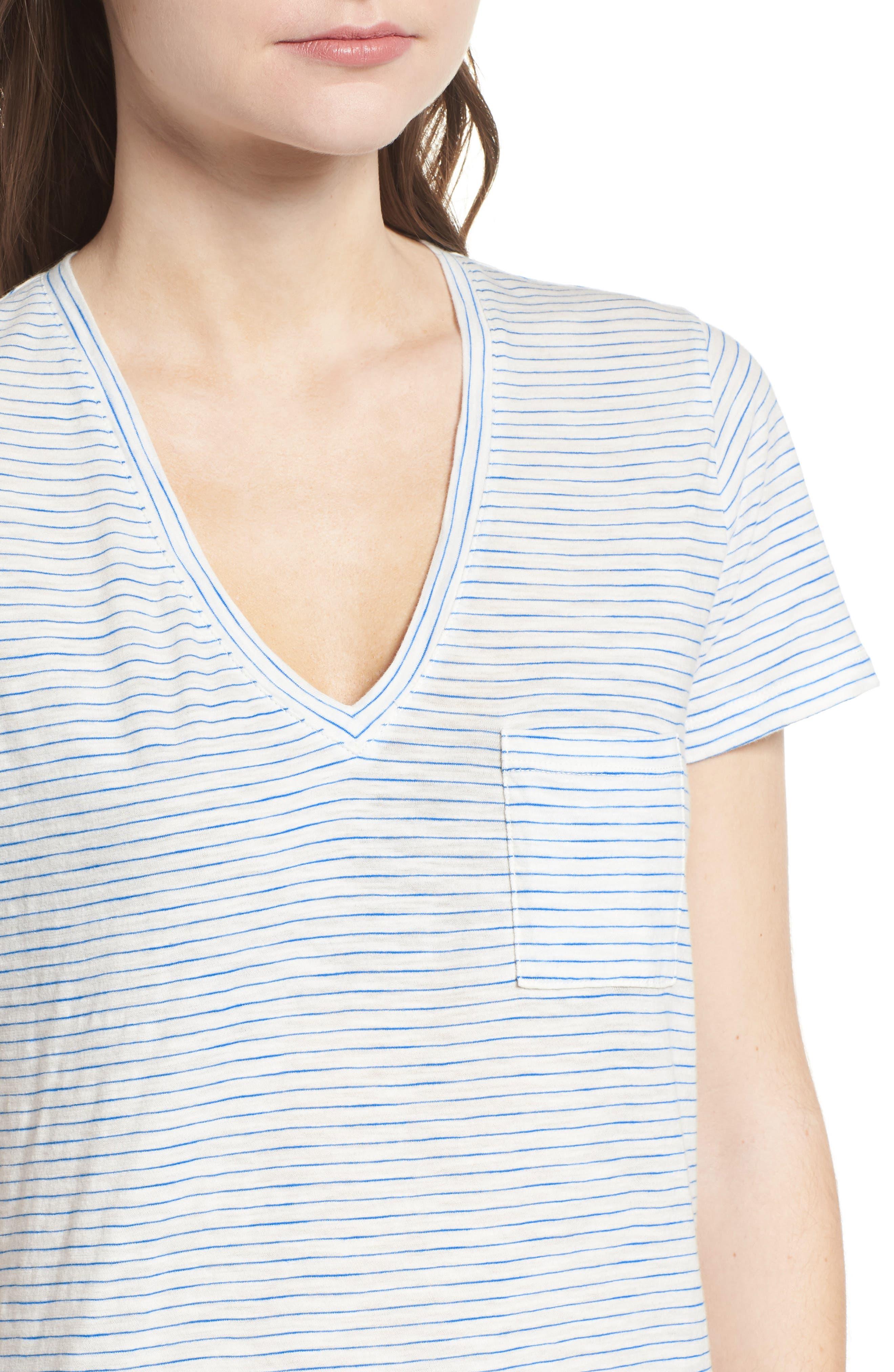 Whisper Cotton Stripe V-Neck Tee,                             Alternate thumbnail 4, color,                             BRIGHT IVORY