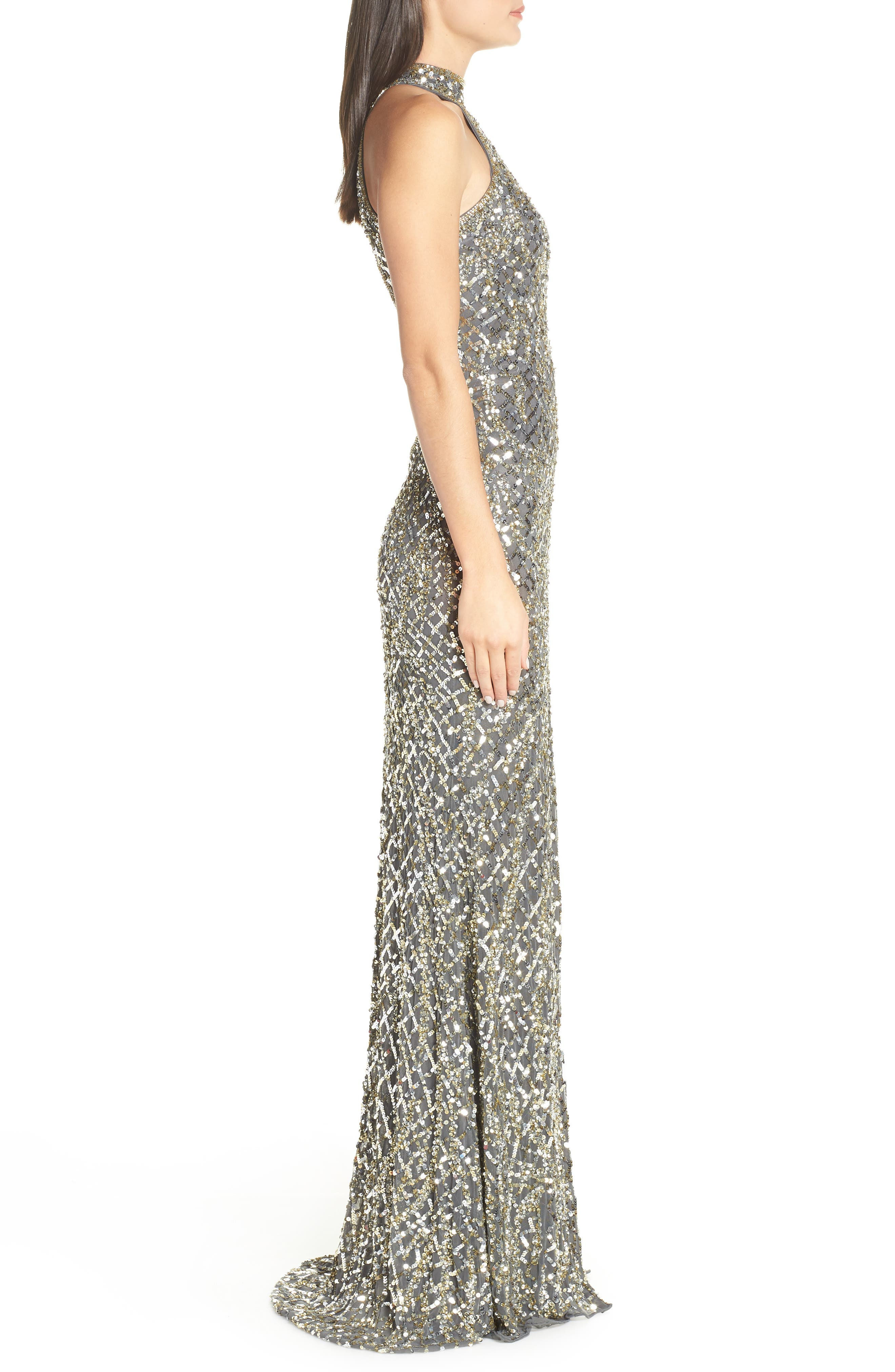 Beaded A-Line Halter Gown,                             Alternate thumbnail 3, color,                             020