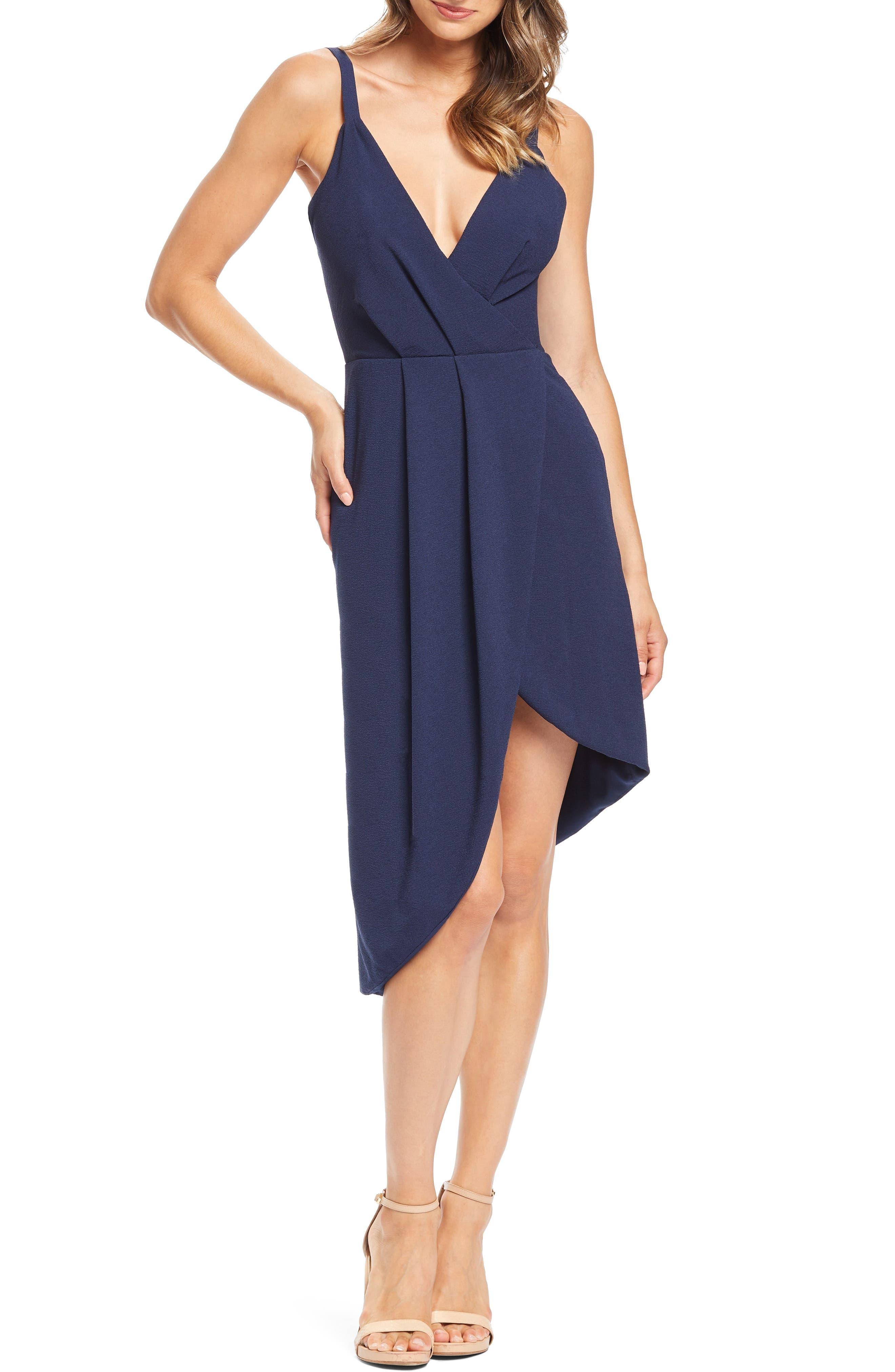 Dress The Population Owen Plunge Neck Faux Wrap Dress, Blue