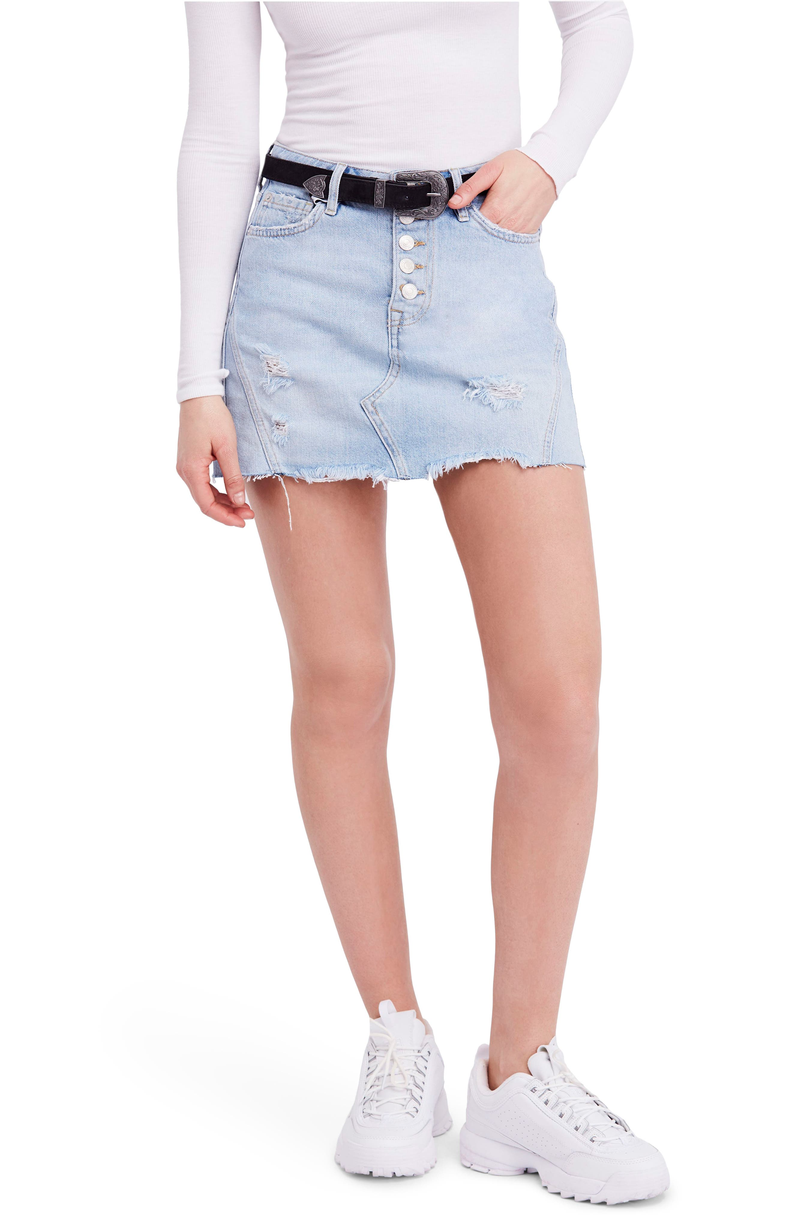 We the Free by Free People Denim A-Line Skirt,                             Main thumbnail 1, color,                             LIGHT DENIM