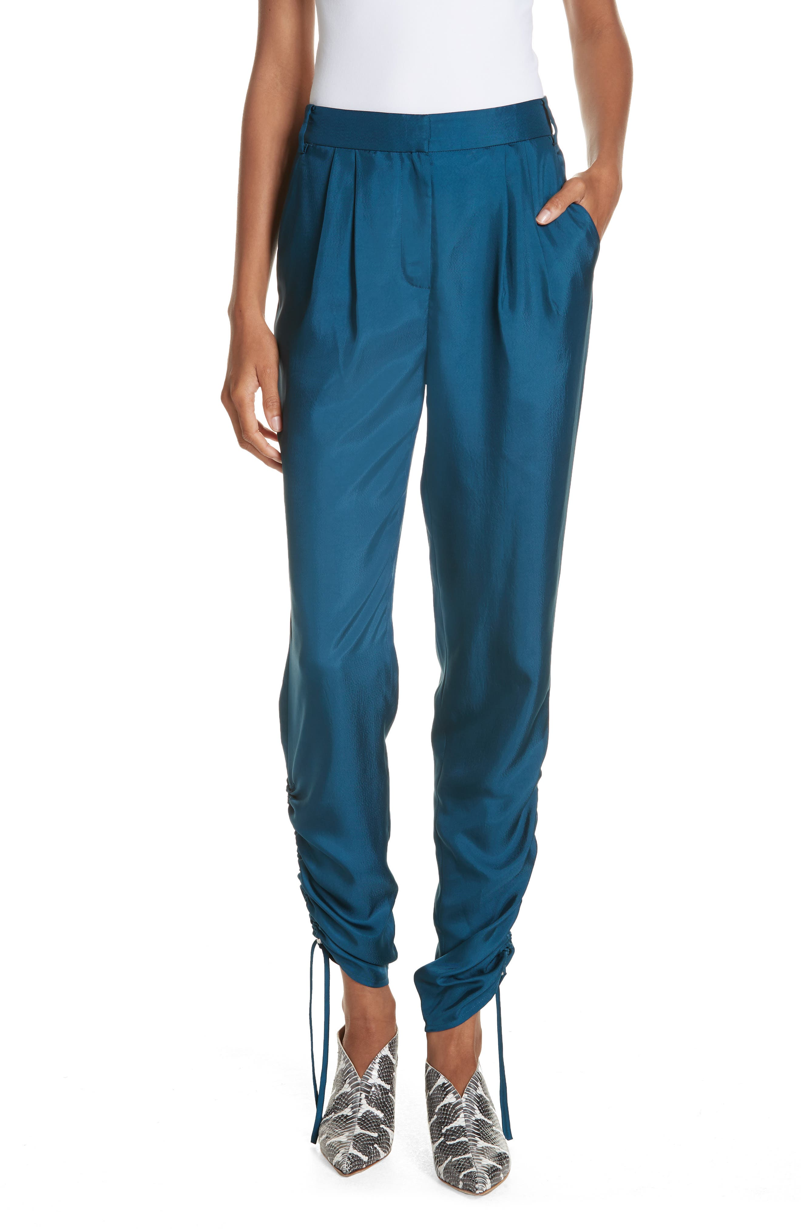 Mendini Twill Shirred Pants, Main, color, TEAL BLUE
