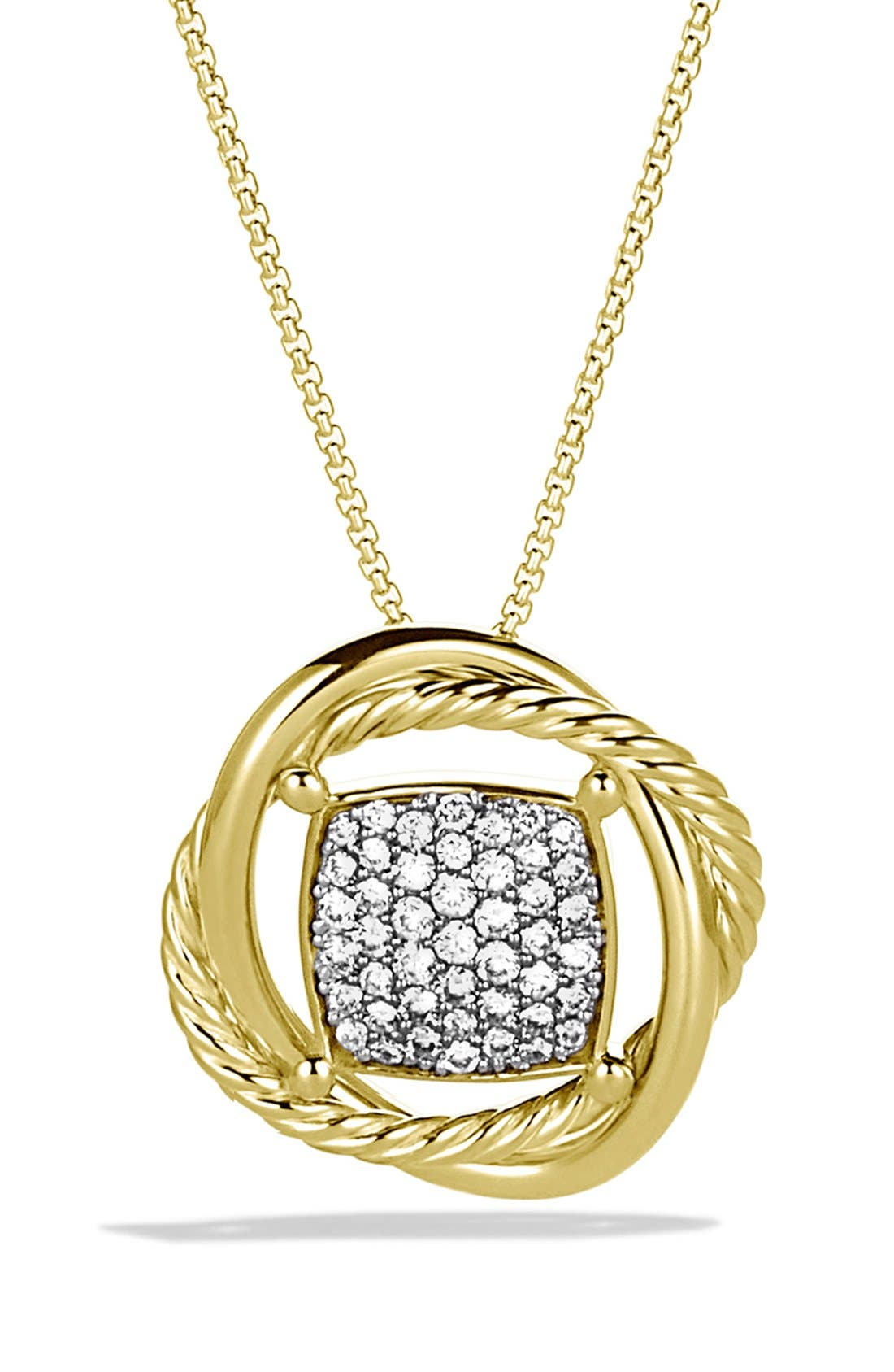 'Infinity' Infinity Pendant with Diamonds in Gold on Chain,                             Main thumbnail 1, color,                             DIAMOND