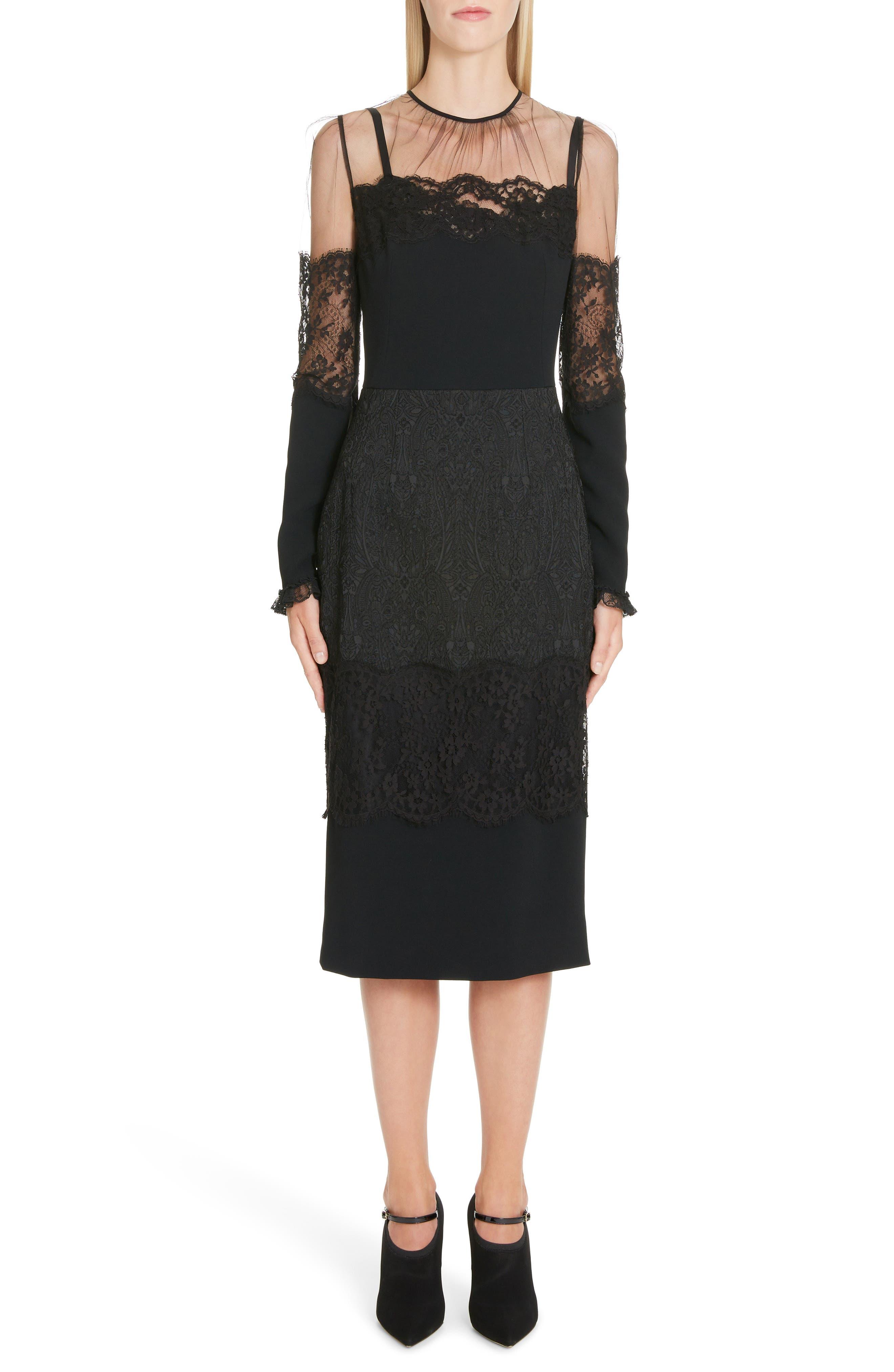 Dolce & gabbana Sheer Yoke Lace Sheath Dress, 50 IT - Black