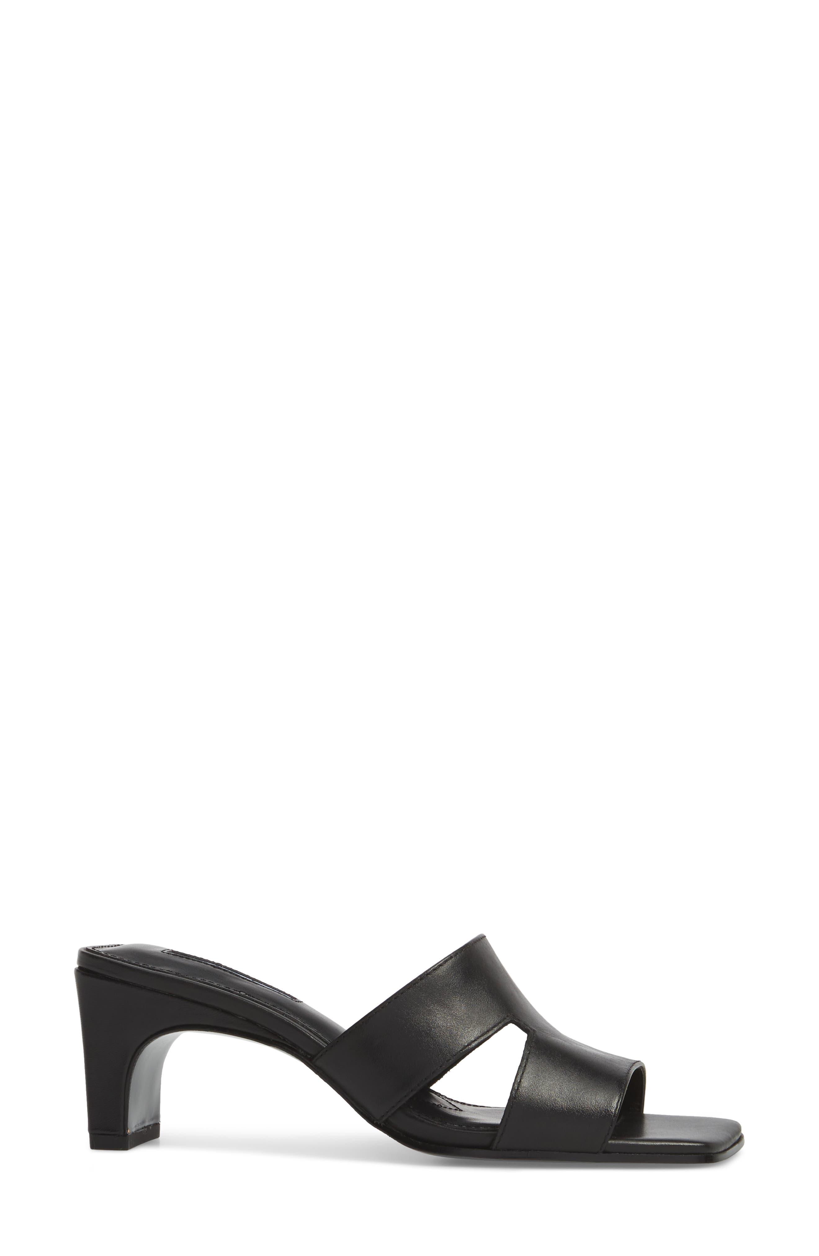 Harley Slide Sandal,                             Alternate thumbnail 3, color,                             BLACK LEATHER