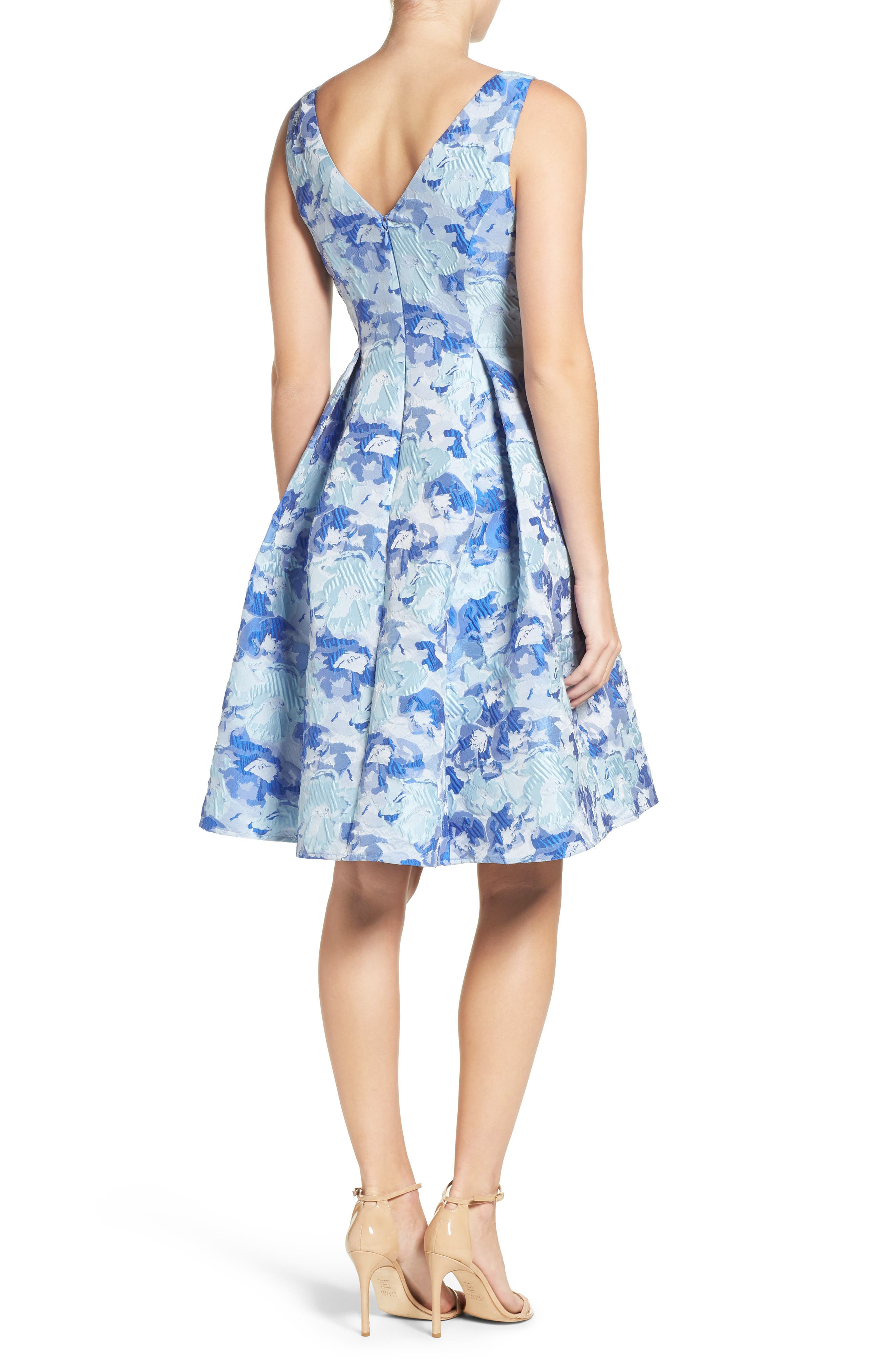 Floral Fit & Flare Dress,                             Alternate thumbnail 2, color,