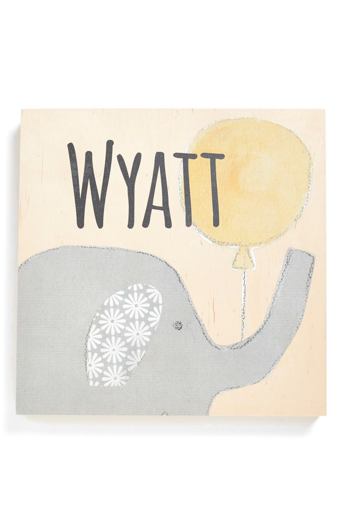 Personalized Elephant Birchwood Wall Art,                             Main thumbnail 1, color,                             700
